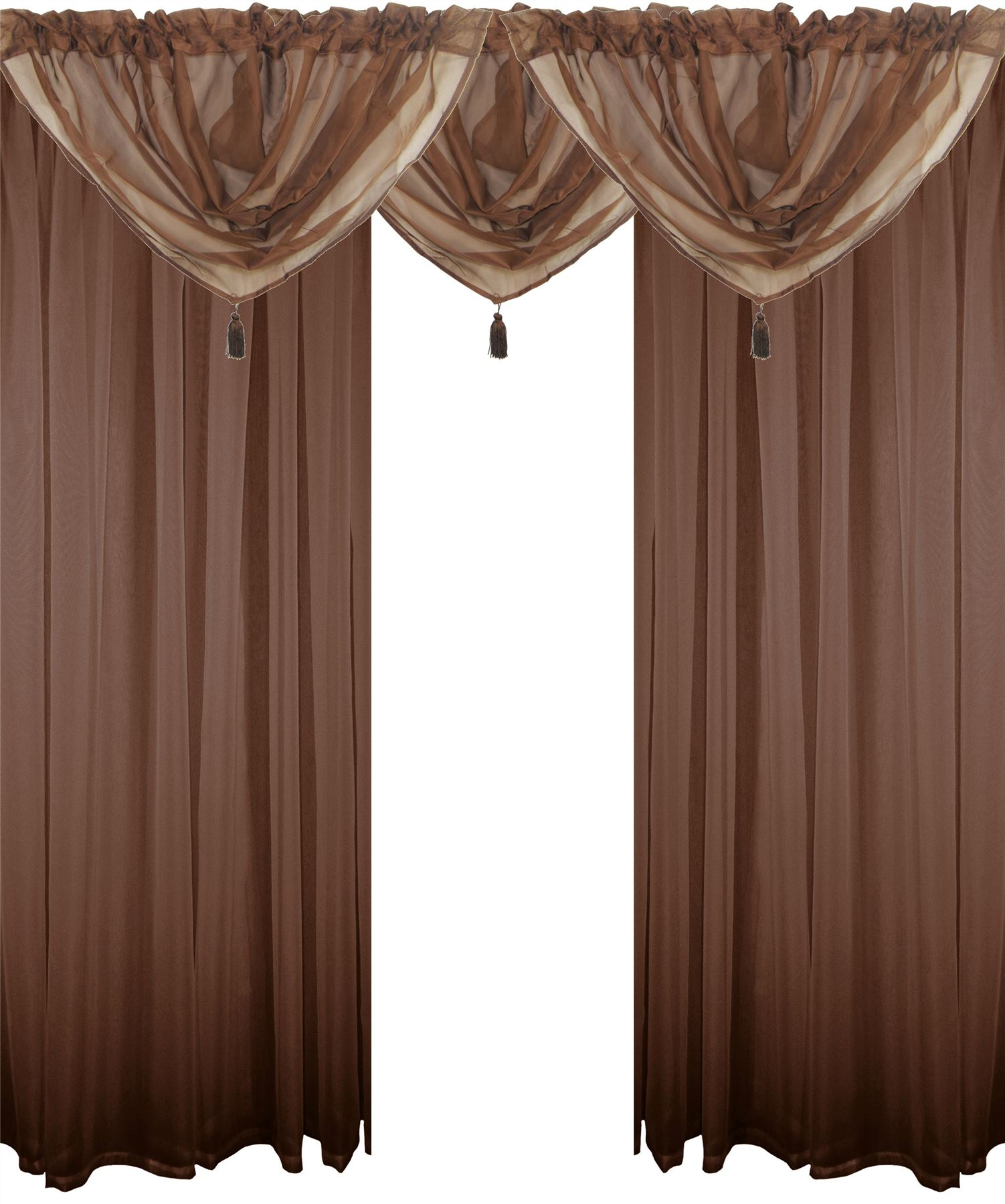 Details About Chocolate Brown 5 Piece Voile Set Rod Pocket Curtains Drapes & Swags – 4 Sizes With Regard To Chocolate 5 Piece Curtain Tier And Swag Sets (View 12 of 20)