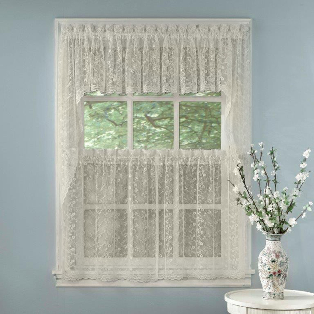 Details About Elegant Ivory Priscilla Lace Kitchen Curtains – Tiers, Tailored Valance Or Swag Inside Ivory Knit Lace Bird Motif Window Curtain (View 4 of 20)