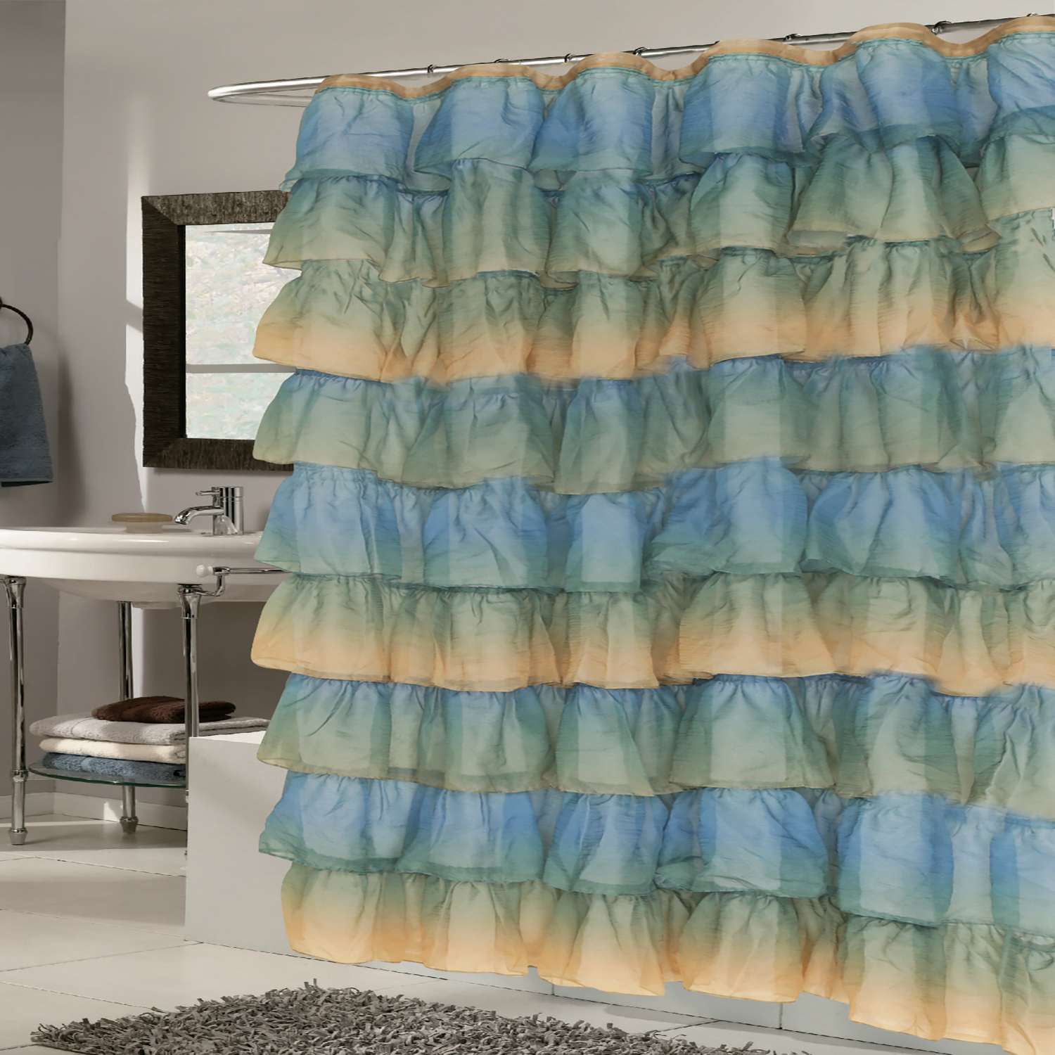 """Details About Elegant Umber Crushed Voile Ruffled Tier Shower Curtain 70"""" X 72"""" Within Elegant Crushed Voile Ruffle Window Curtain Pieces (View 18 of 20)"""