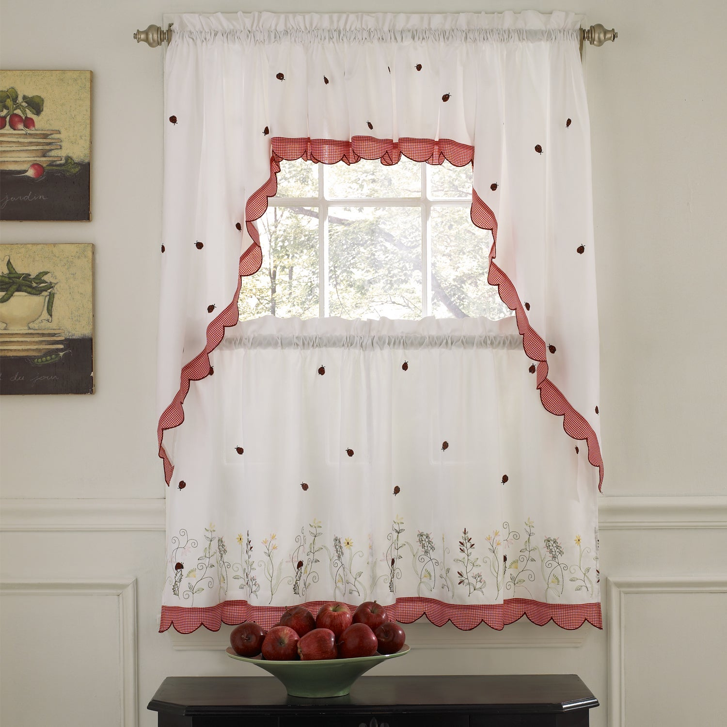 Details About Embroidered Ladybugs Window Curtain Pieces In White Tone On Tone Raised Microcheck Semisheer Window Curtain Pieces (View 5 of 20)