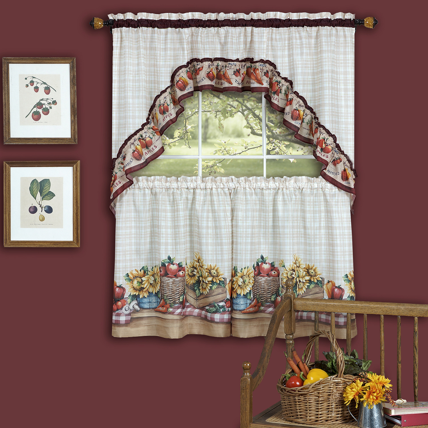 """Details About Farmer's Market Fruit Flowers Kitchen Curtain 36"""" Tier Pair & 30"""" Swag Set Intended For Cotton Blend Ivy Floral Tier Curtain And Swag Sets (View 8 of 20)"""