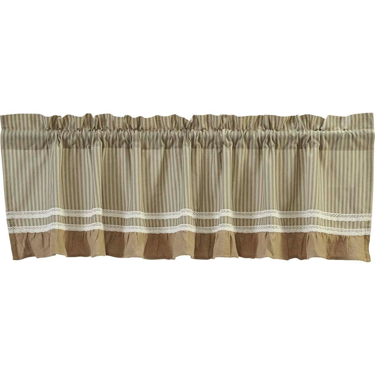 Details About Farmhouse Kitchen Curtains Vhc Kendra Stripe Valance Rod Throughout Cumberland Tier Pair Rod Pocket Cotton Buffalo Check Kitchen Curtains (View 9 of 20)