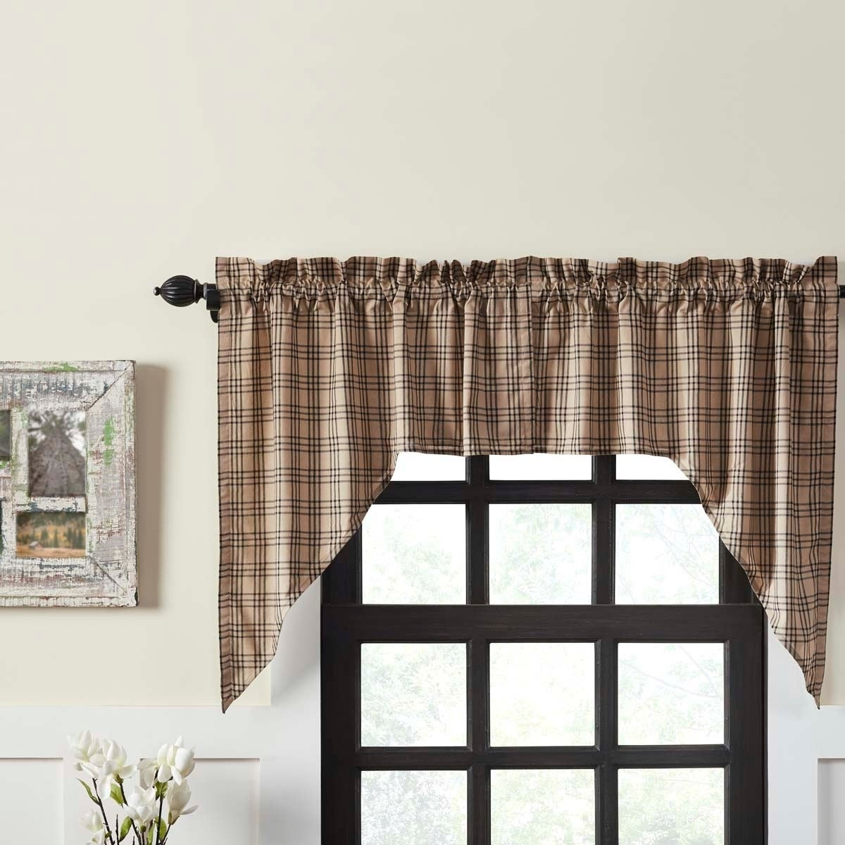 Details About Farmhouse Kitchen Curtains Vhc Sawyer Mill Plaid Swag Pair Regarding Cumberland Tier Pair Rod Pocket Cotton Buffalo Check Kitchen Curtains (View 10 of 20)