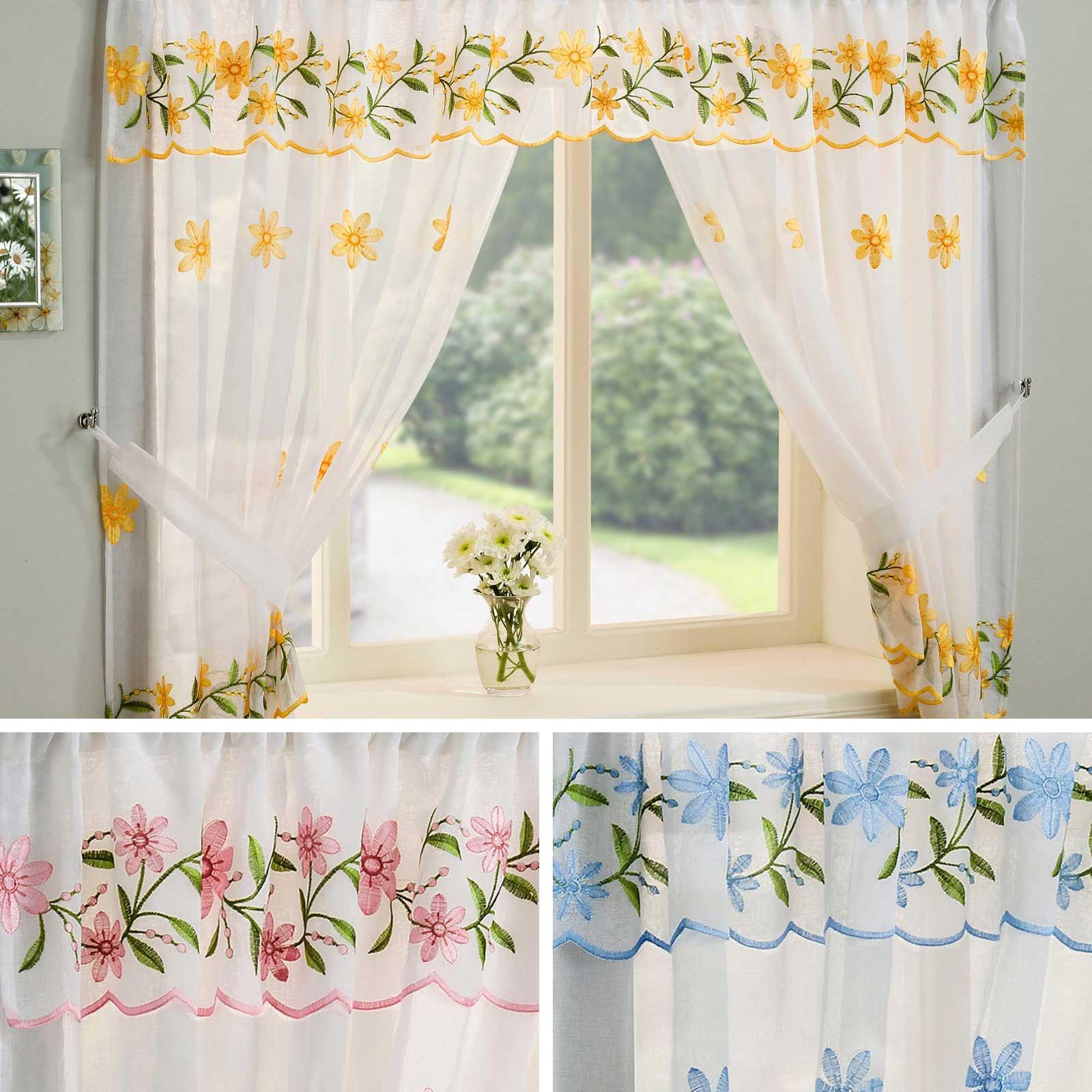 Details About Floral Curtain Set Daisy Complete Window Ready Made Embroidered Lace Curtains Within Glasgow Curtain Tier Sets (View 13 of 20)