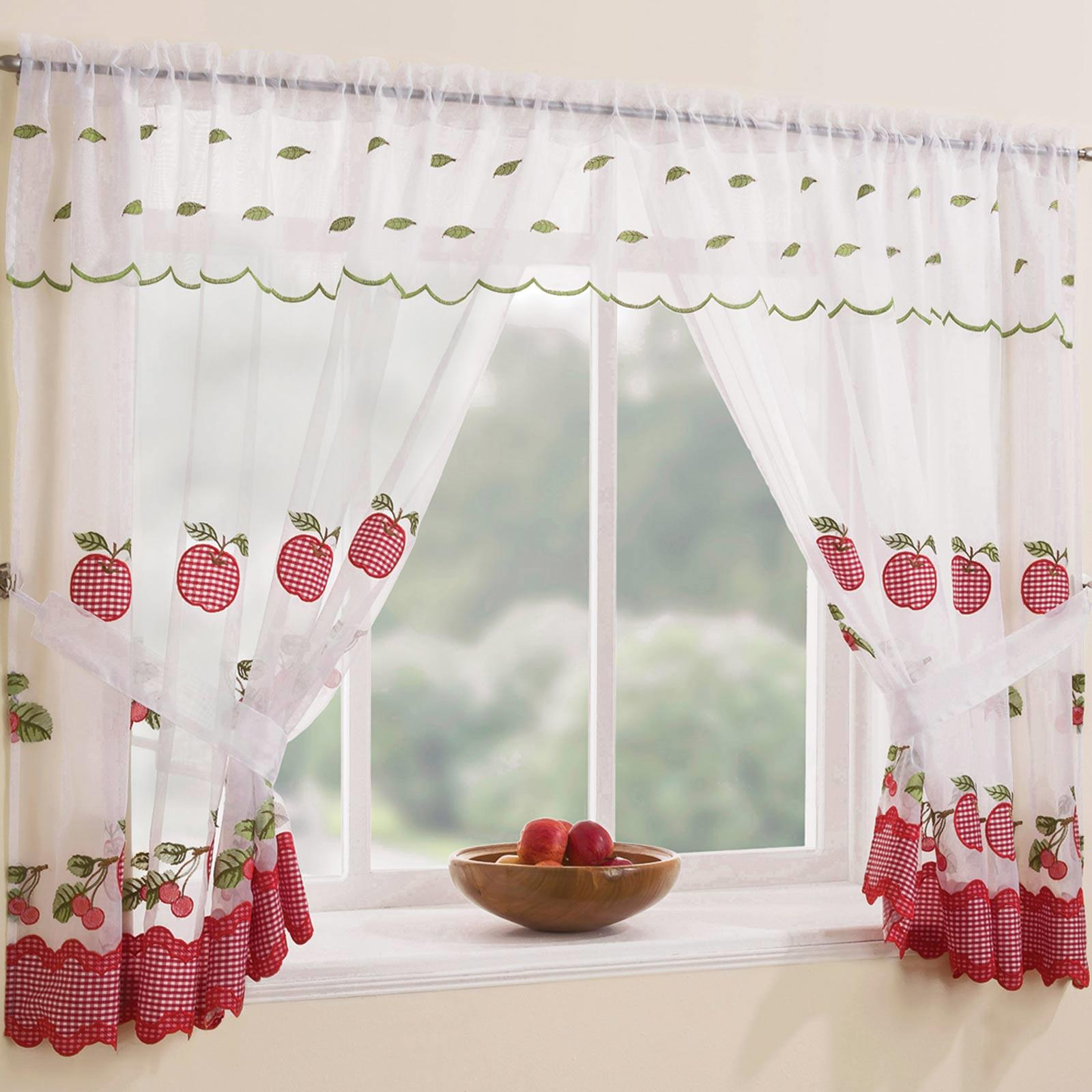Details About Gingham Curtain Set Winchester Complete Window Ready Made Embroidered Curtains Within Glasgow Curtain Tier Sets (View 16 of 20)