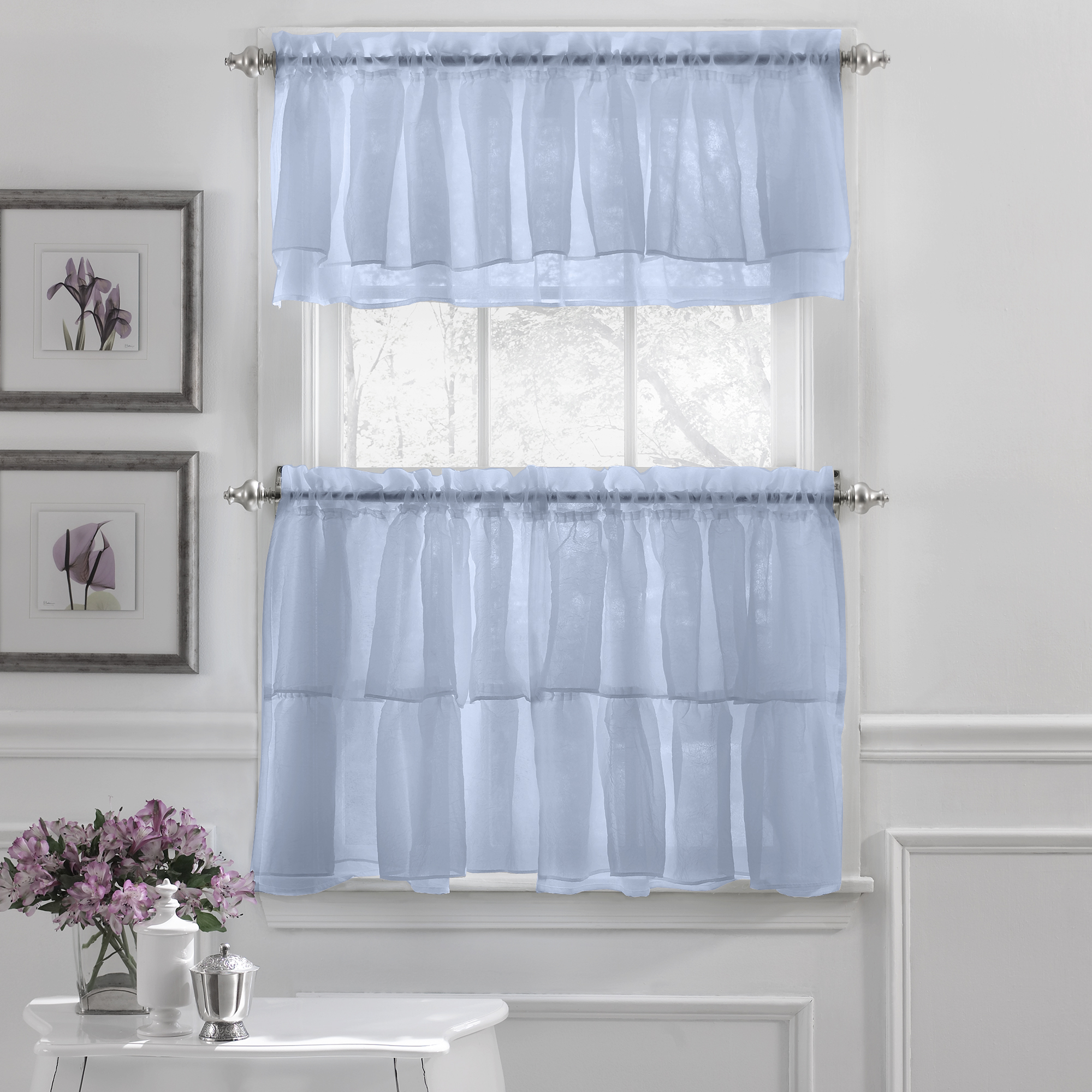 Details About Gypsy Crushed Voile Ruffle Kitchen Window Curtain Tiers Or Valance Blue With Bermuda Ruffle Kitchen Curtain Tier Sets (View 8 of 20)