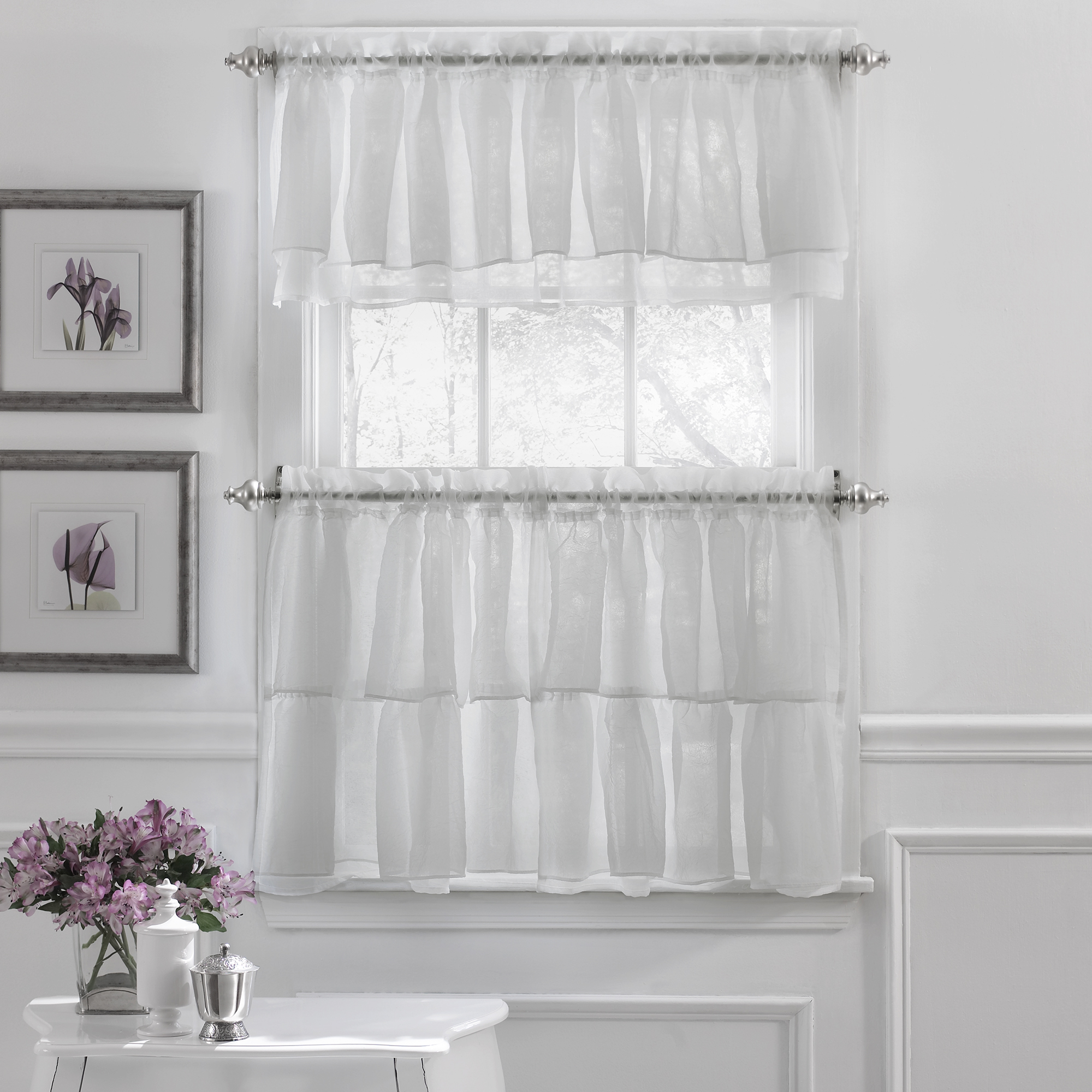 Details About Gypsy Crushed Voile Ruffle Kitchen Window Curtain Tiers Or Valance White In Classic Black And White Curtain Tiers (View 11 of 20)