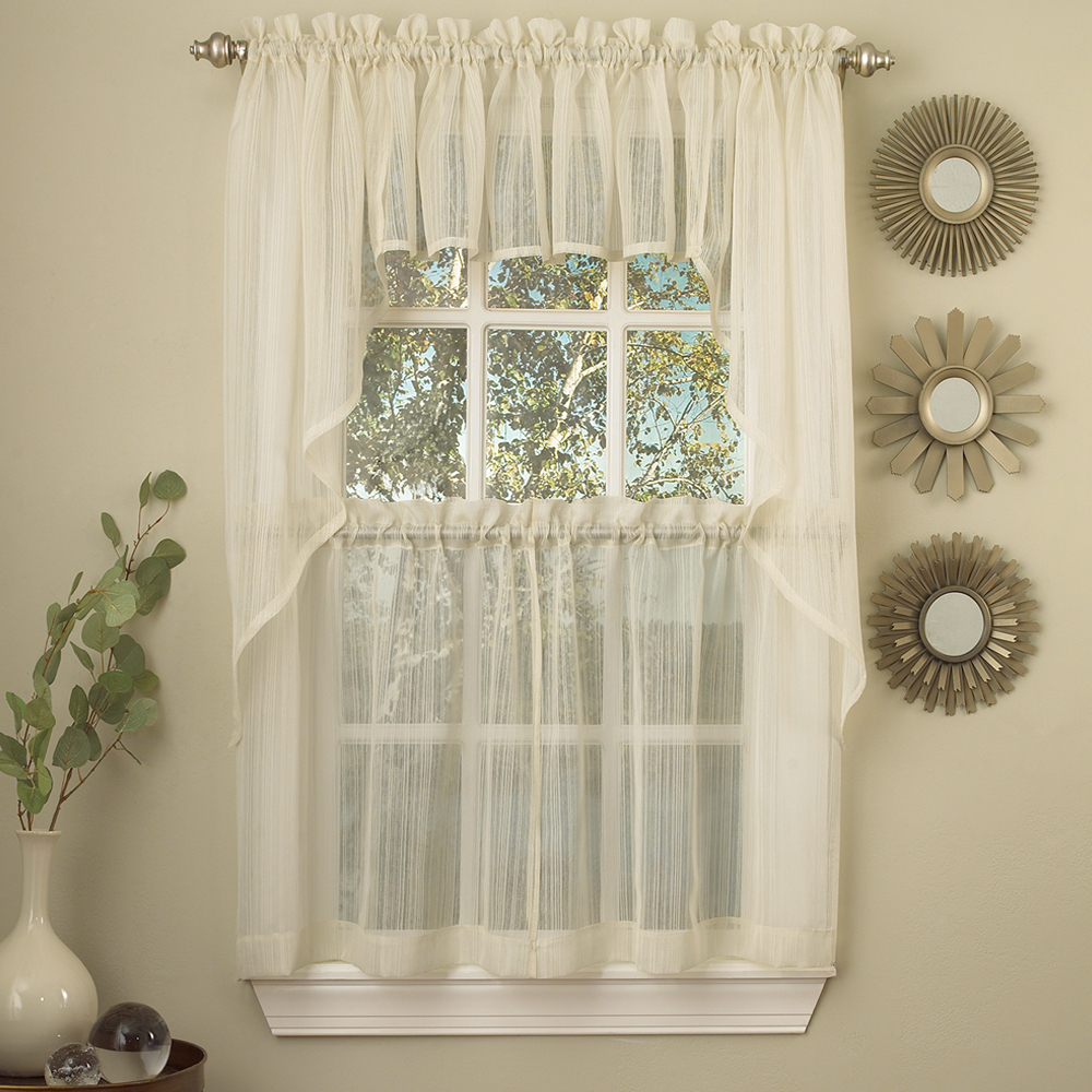 Details About Harmony Ivory Micro Stripe Semi Sheer Kitchen Curtains Tier Or Valance Or Swag With Regard To Linen Stripe Rod Pocket Sheer Kitchen Tier Sets (View 8 of 20)