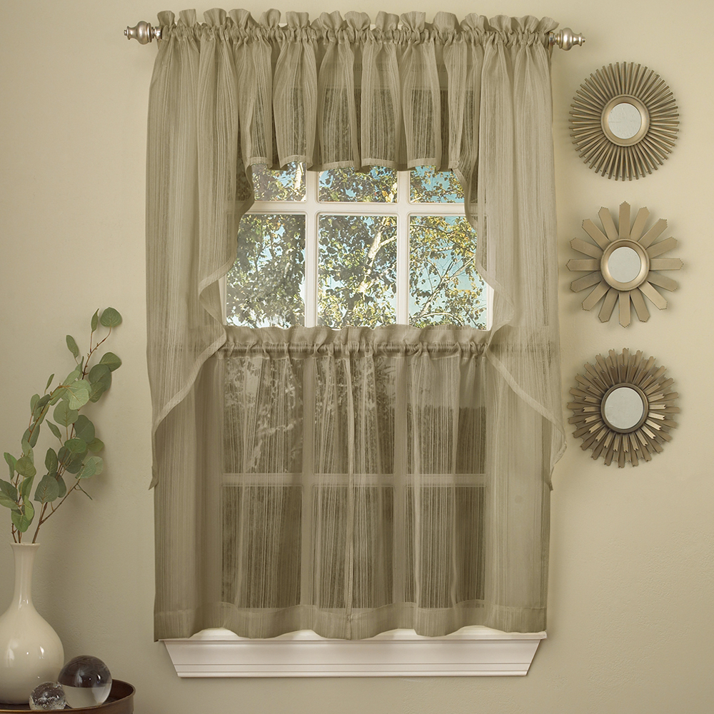 Details About Harmony Mocha Micro Stripe Semi Sheer Kitchen Curtains Tier Or Valance Or Swag With Regard To Semi Sheer Rod Pocket Kitchen Curtain Valance And Tiers Sets (View 4 of 20)