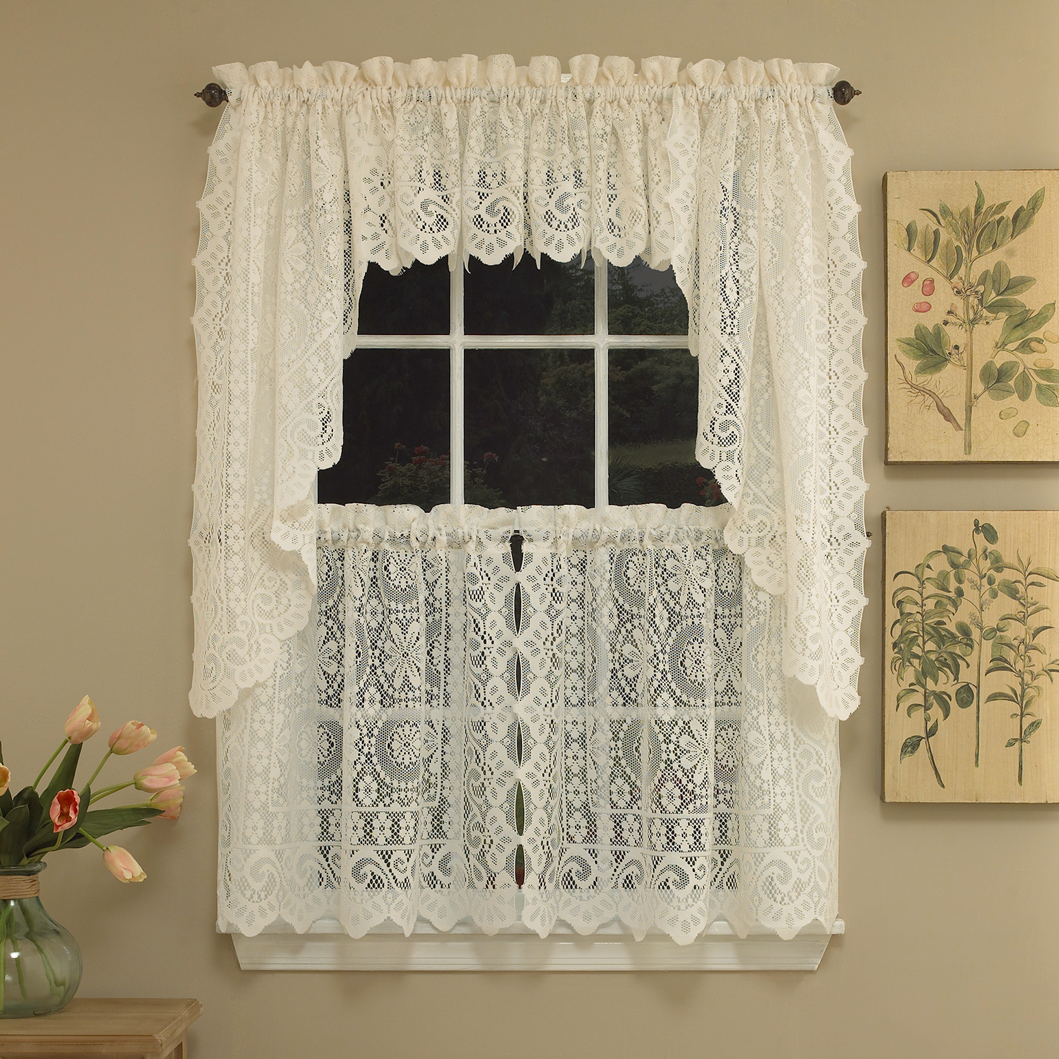 Details About Hopewell Heavy Cream Lace Kitchen Curtain Choice Of Tier Valance Or Swag Inside Sheer Lace Elongated Kitchen Curtain Tier Pairs (View 8 of 20)