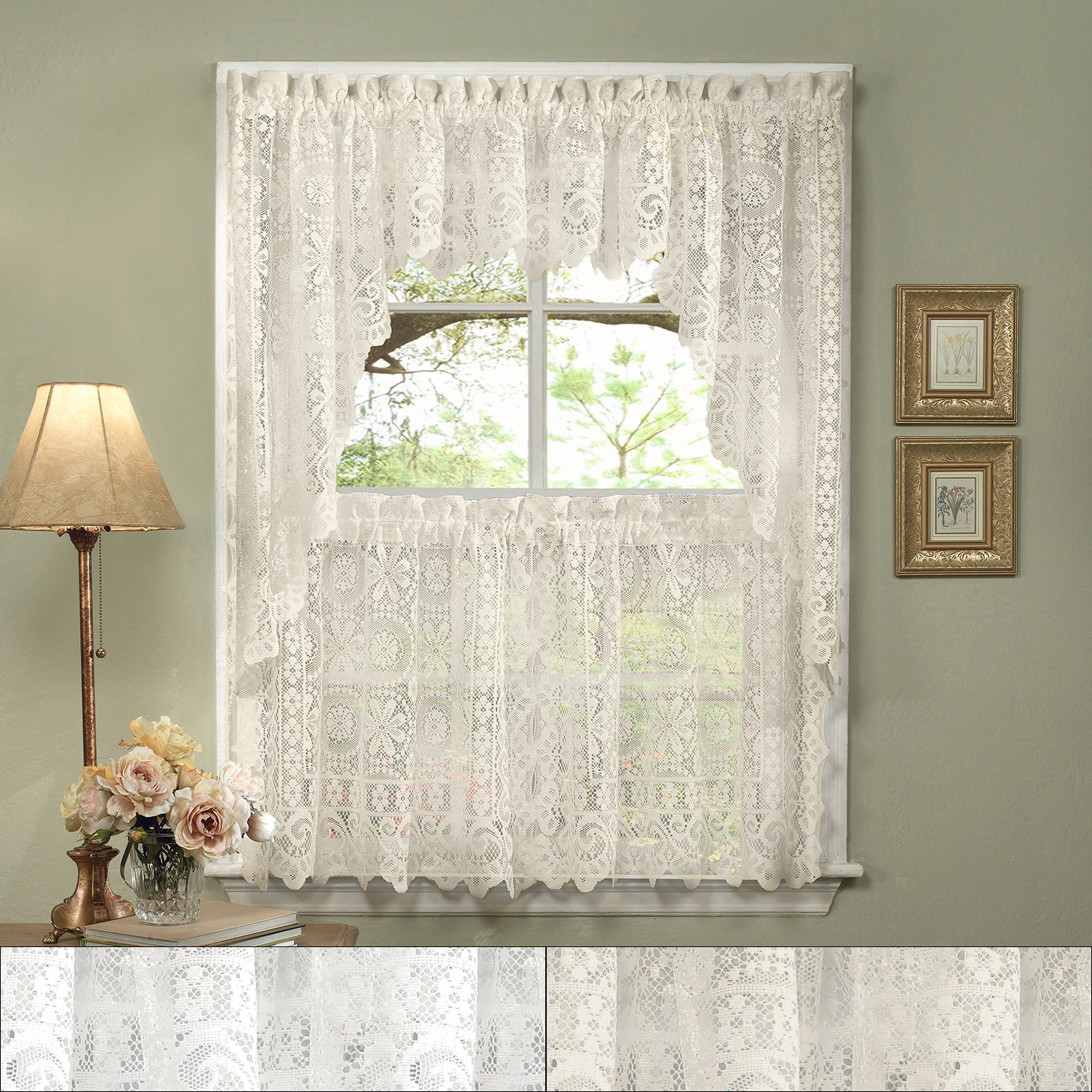 """Details About Hopewell Heavy Lace Floral Kitchen Curtain 24"""" Tier Pair, Valance & Swag Set Regarding Cotton Blend Ivy Floral Tier Curtain And Swag Sets (View 9 of 20)"""