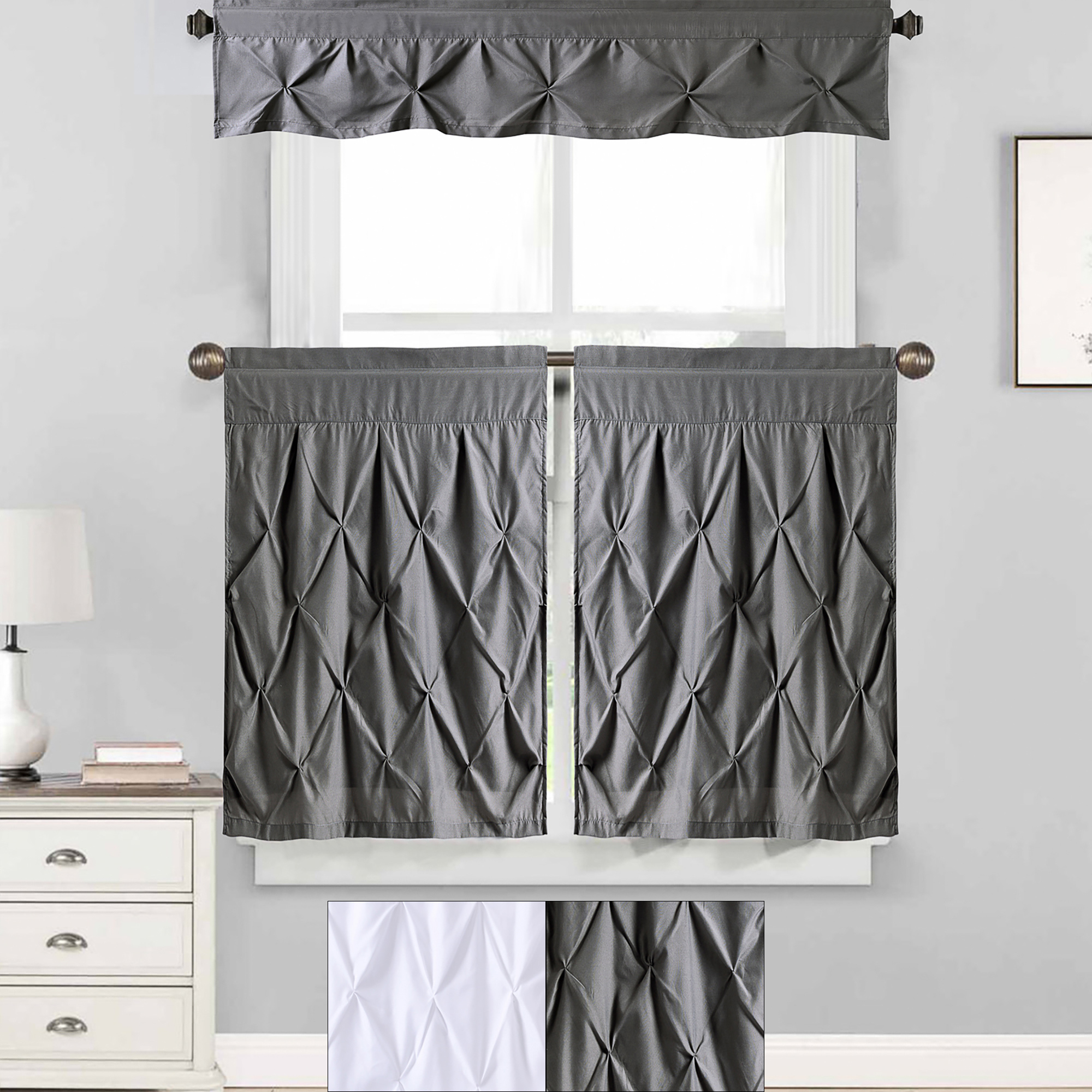 "Details About Hudson Pintuck Kitchen Window Curtain 36"" Tier Pair And Valance Set Inside Solid Microfiber 3 Piece Kitchen Curtain Valance And Tiers Sets (View 6 of 20)"