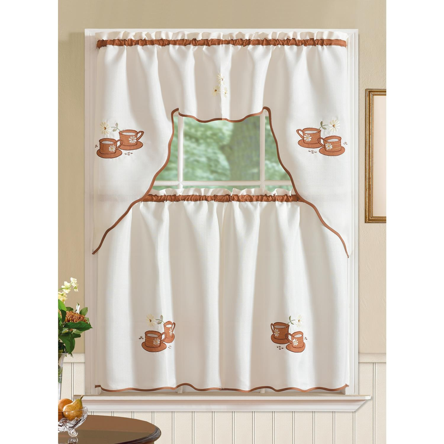 Details About Imperial Coffee Jacquard Kitchen Curtain Set In Spring Daisy Tiered Curtain 3 Piece Sets (View 6 of 20)