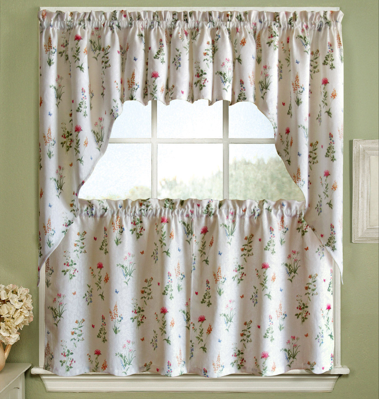"""Details About Jacquard Kitchen Curtain 36"""" Tier, Swag, Valance Set English Garden Floral White In Cotton Blend Ivy Floral Tier Curtain And Swag Sets (View 10 of 20)"""