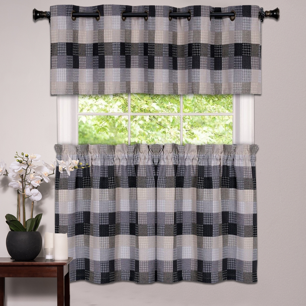 Details About Kitchen Window Curtain Classic Harvard Checkered, Tiers Or Valance Black With Regard To Dakota Window Curtain Tier Pair And Valance Sets (View 14 of 20)
