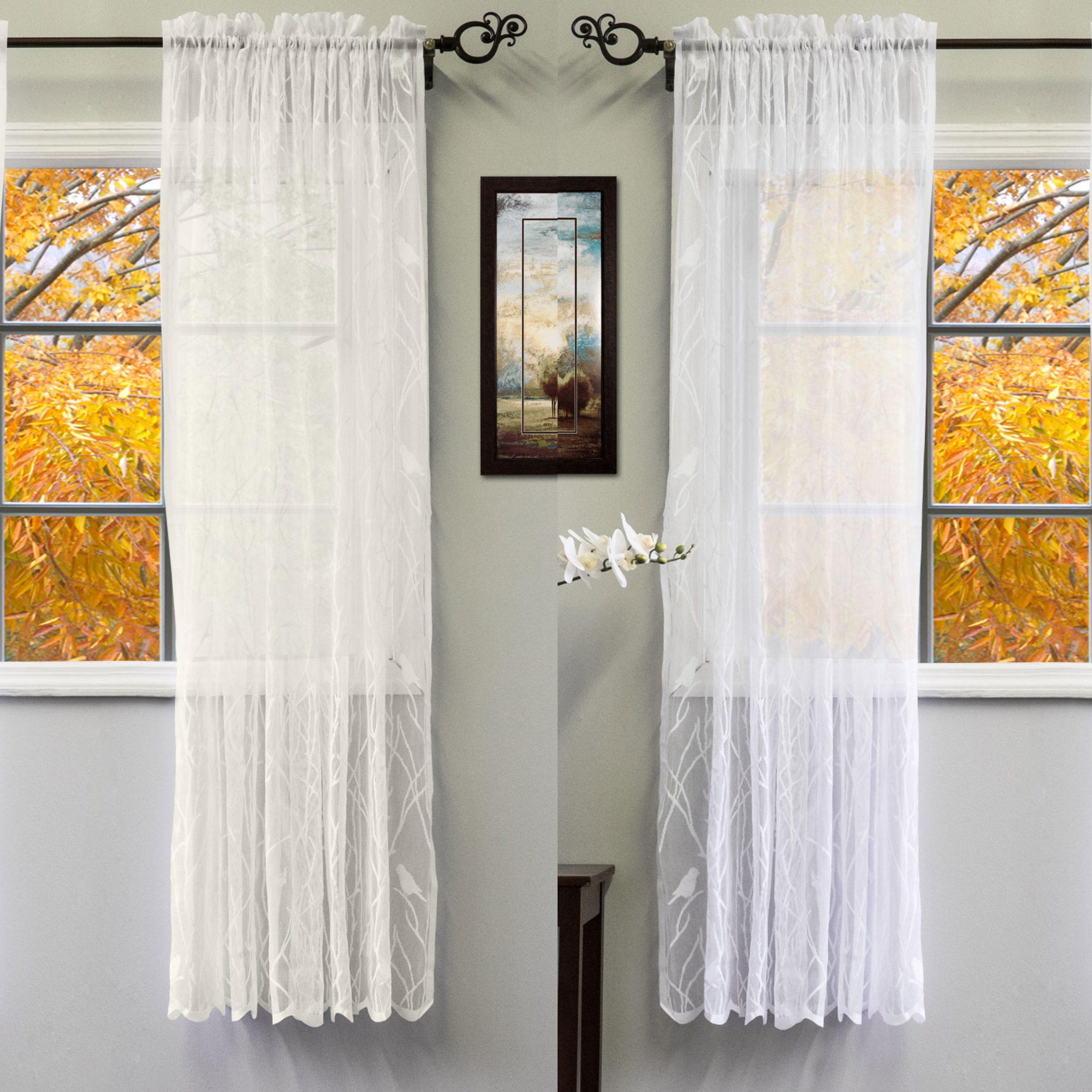 """Details About Knit Lace Polyester Songbird Motif 56""""x 63"""" Window Curtain Panel Throughout Ivory Knit Lace Bird Motif Window Curtain (View 5 of 20)"""