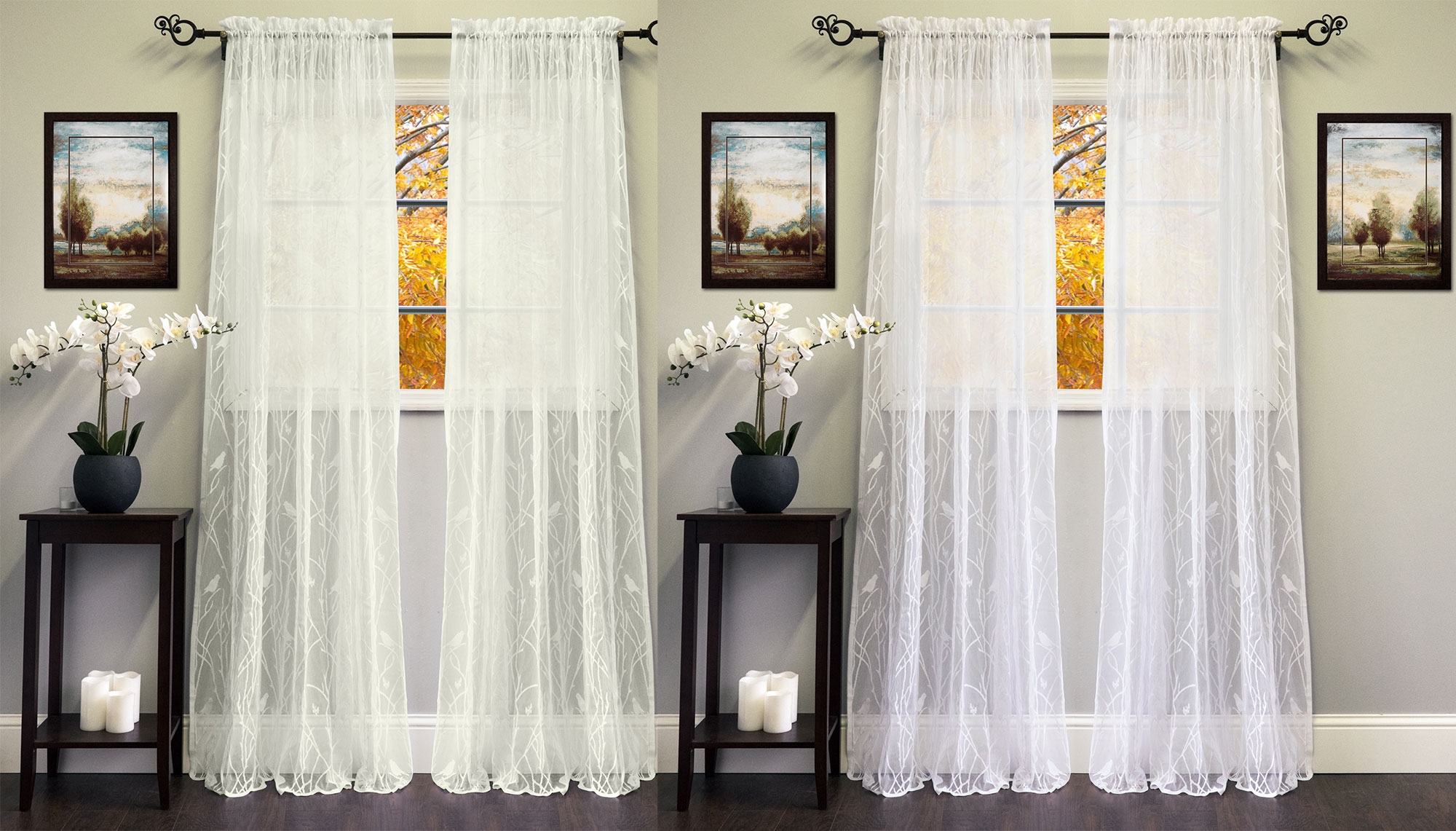 """Details About Knit Lace Polyester Songbird Motif 56""""x 84"""" Window Curtain Panel Throughout Marine Life Motif Knitted Lace Window Curtain Pieces (View 6 of 20)"""