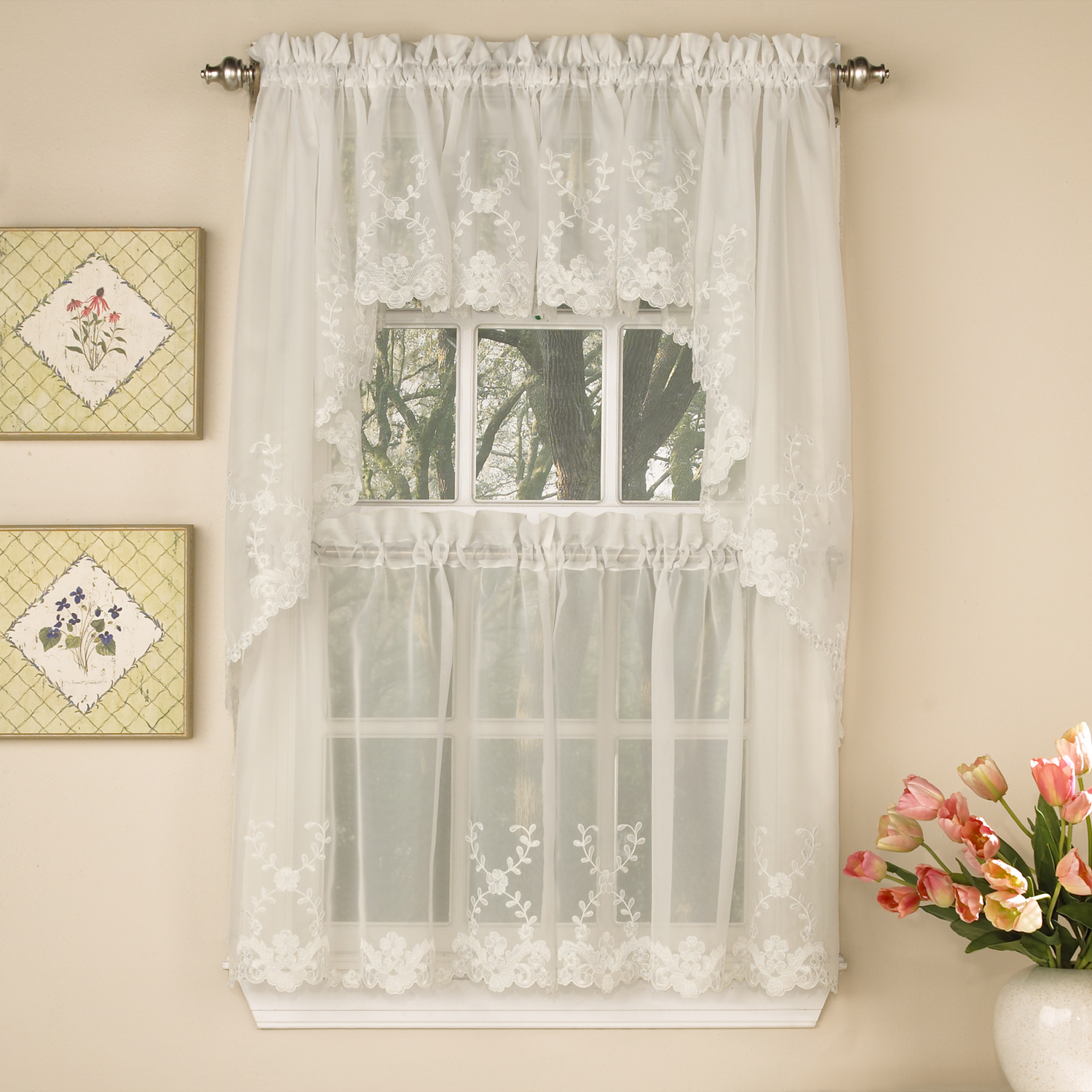 Details About Laurel Leaf Sheer Voile Embroidered Ivory Kitchen Curtains Tier, Valance Or Swag In Ivory Micro Striped Semi Sheer Window Curtain Pieces (View 9 of 20)