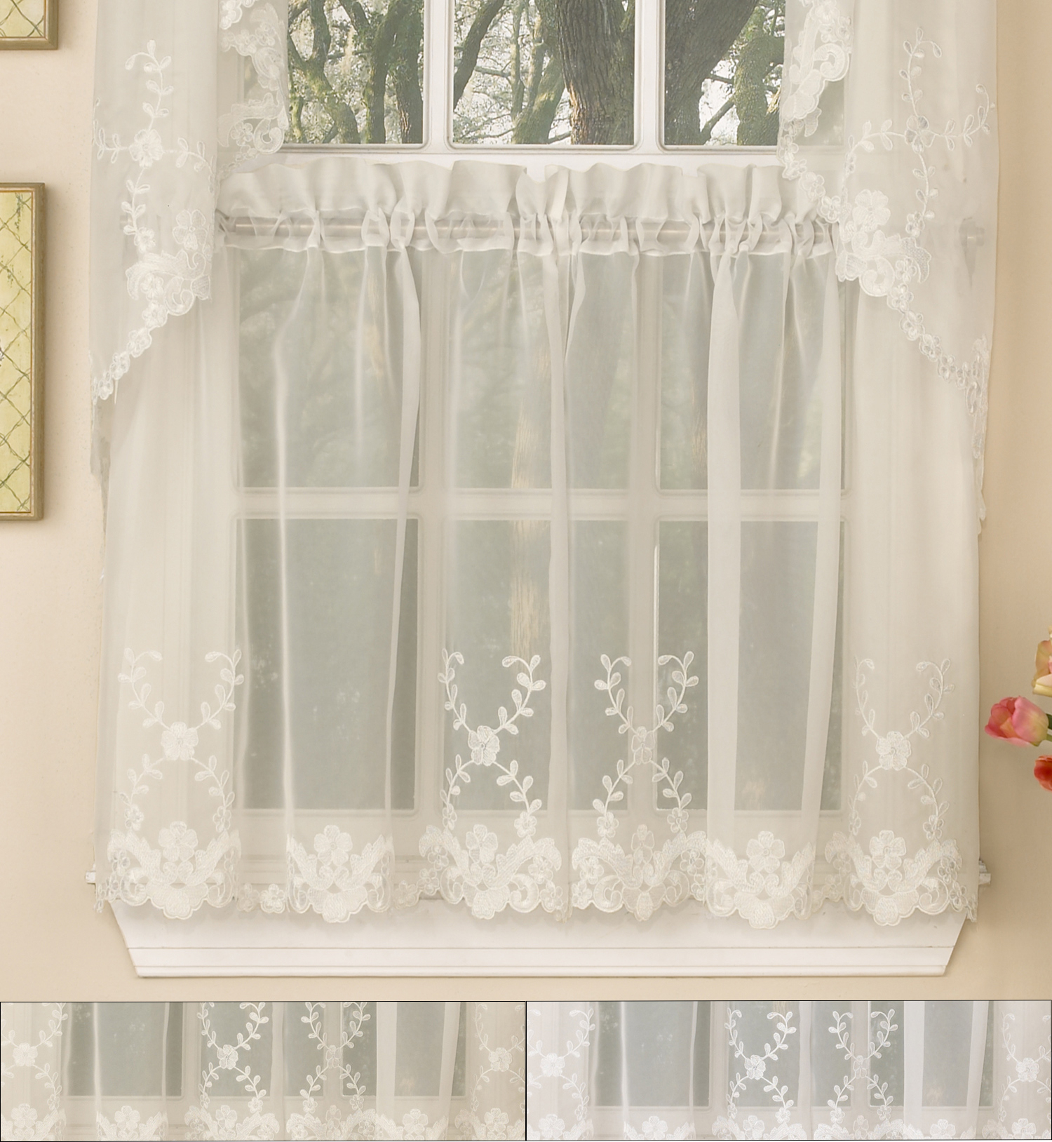 """Details About Laurel Leaf Sheer Voile Embroidered Kitchen Curtains 36"""" X 60"""" Tier Pair Regarding Scroll Leaf 3 Piece Curtain Tier And Valance Sets (View 6 of 20)"""