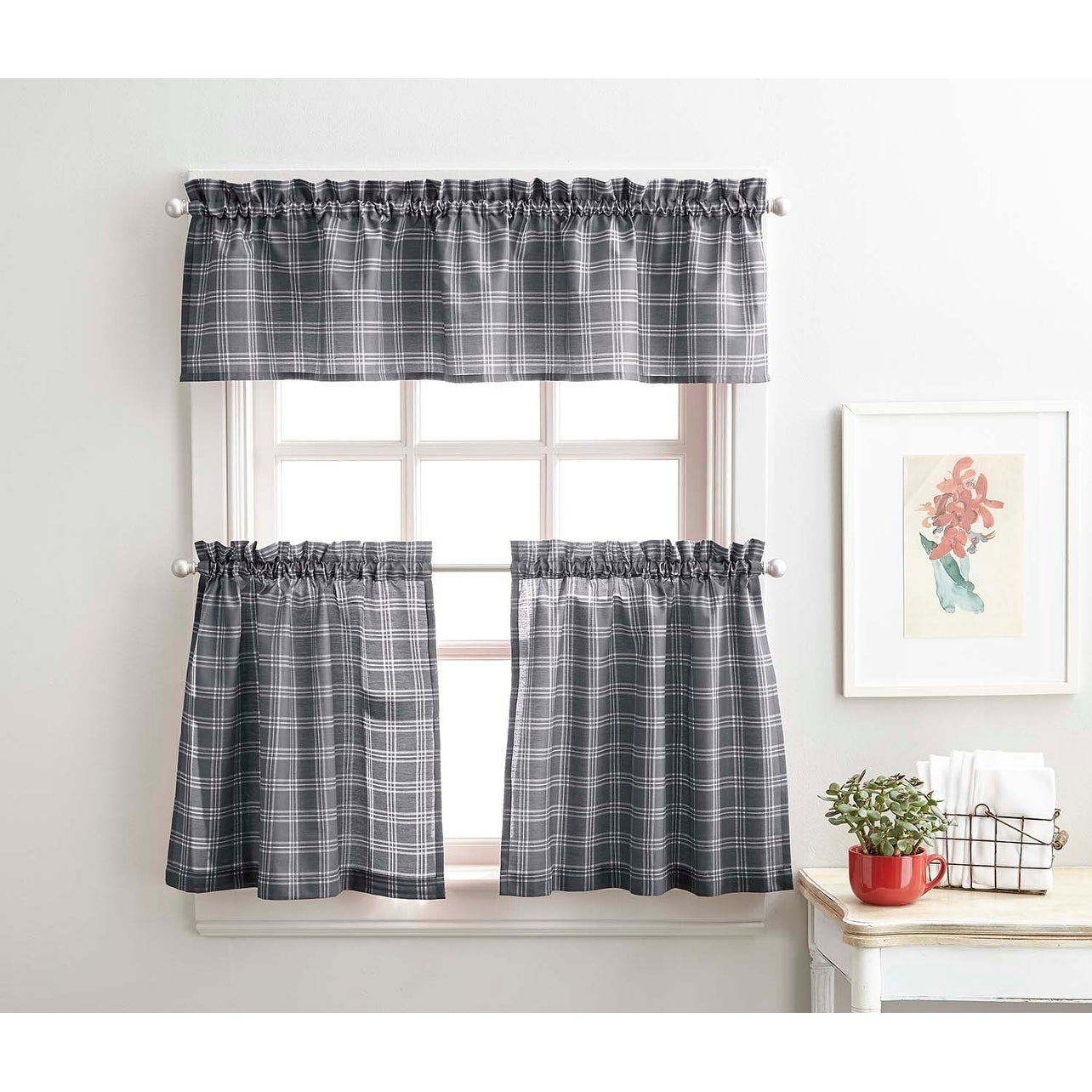 Details About Lodge Plaid 3 Piece Kitchen Curtain Tier And Valance Set – Within Abby Embroidered 5 Piece Curtain Tier And Swag Sets (Image 8 of 20)
