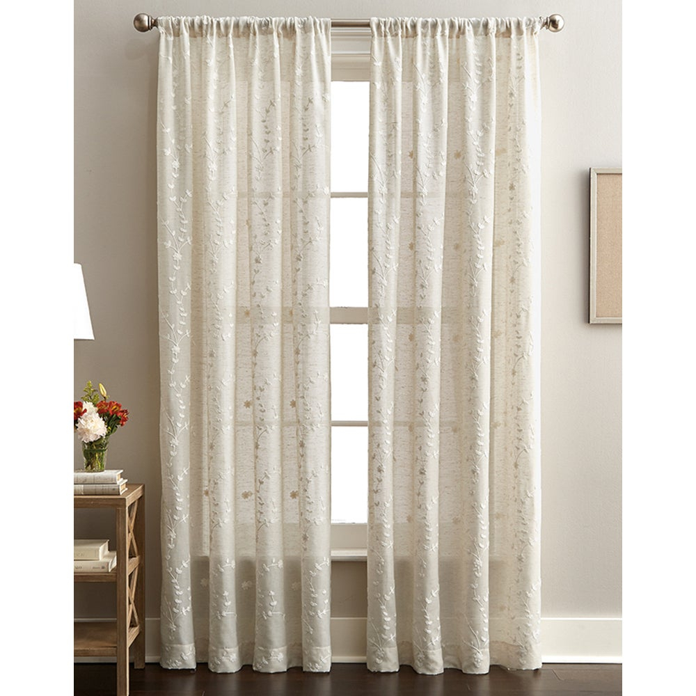 Details About Lynette Floral Embroidered Rod Pocket Curtain Panel Linen Pertaining To Abby Embroidered 5 Piece Curtain Tier And Swag Sets (Image 9 of 20)