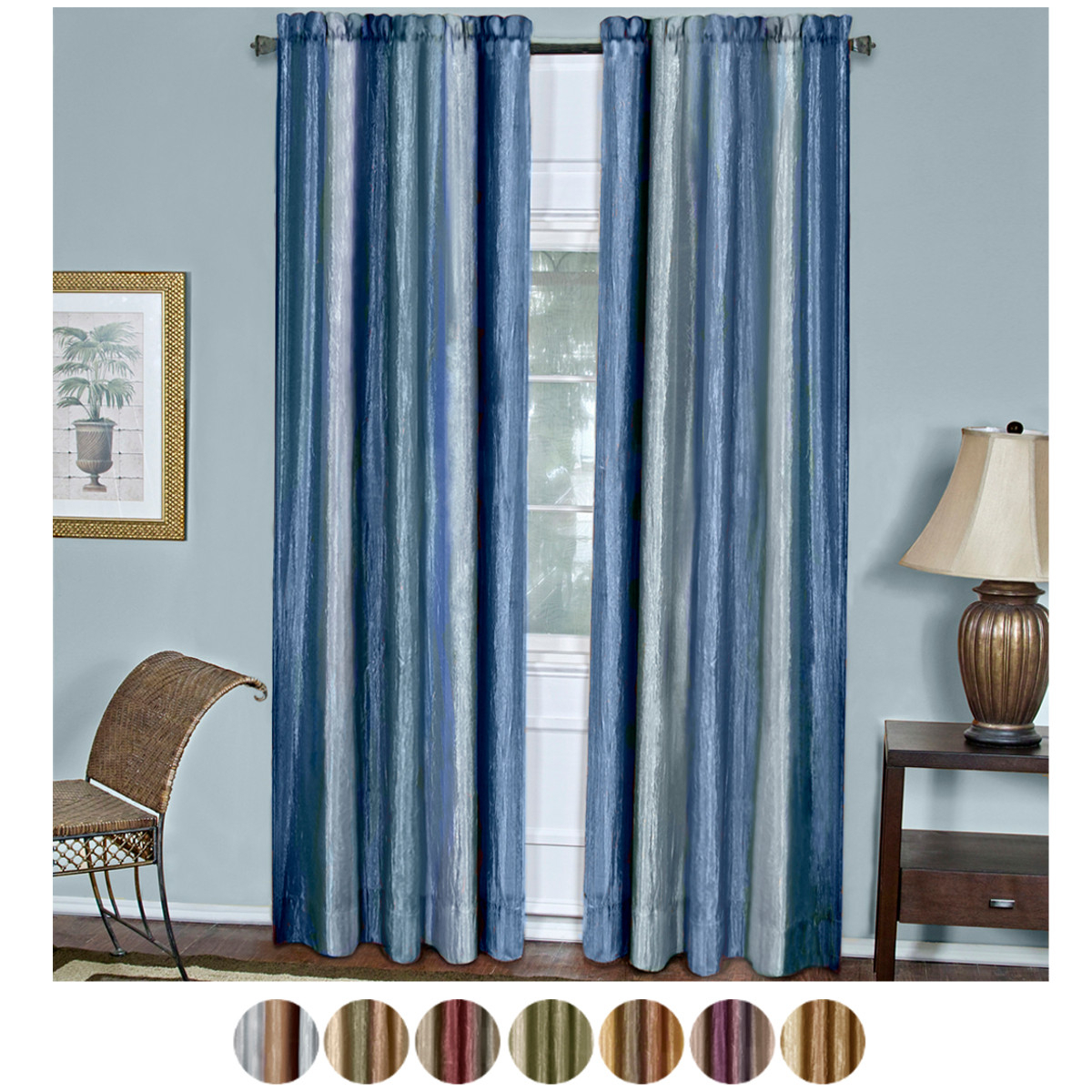 Details About Multi Color 2 Panel Pack Striped Modern Semi Sheer Window Curtain Drape Within Micro Striped Semi Sheer Window Curtain Pieces (View 11 of 20)