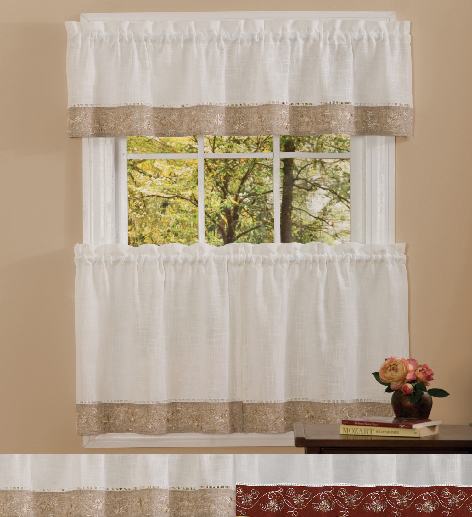 """Details About Oakwood Linen Style Kitchen Window Curtain 24"""" Tiers & Valance Set In Window Curtain Tier And Valance Sets (View 6 of 20)"""
