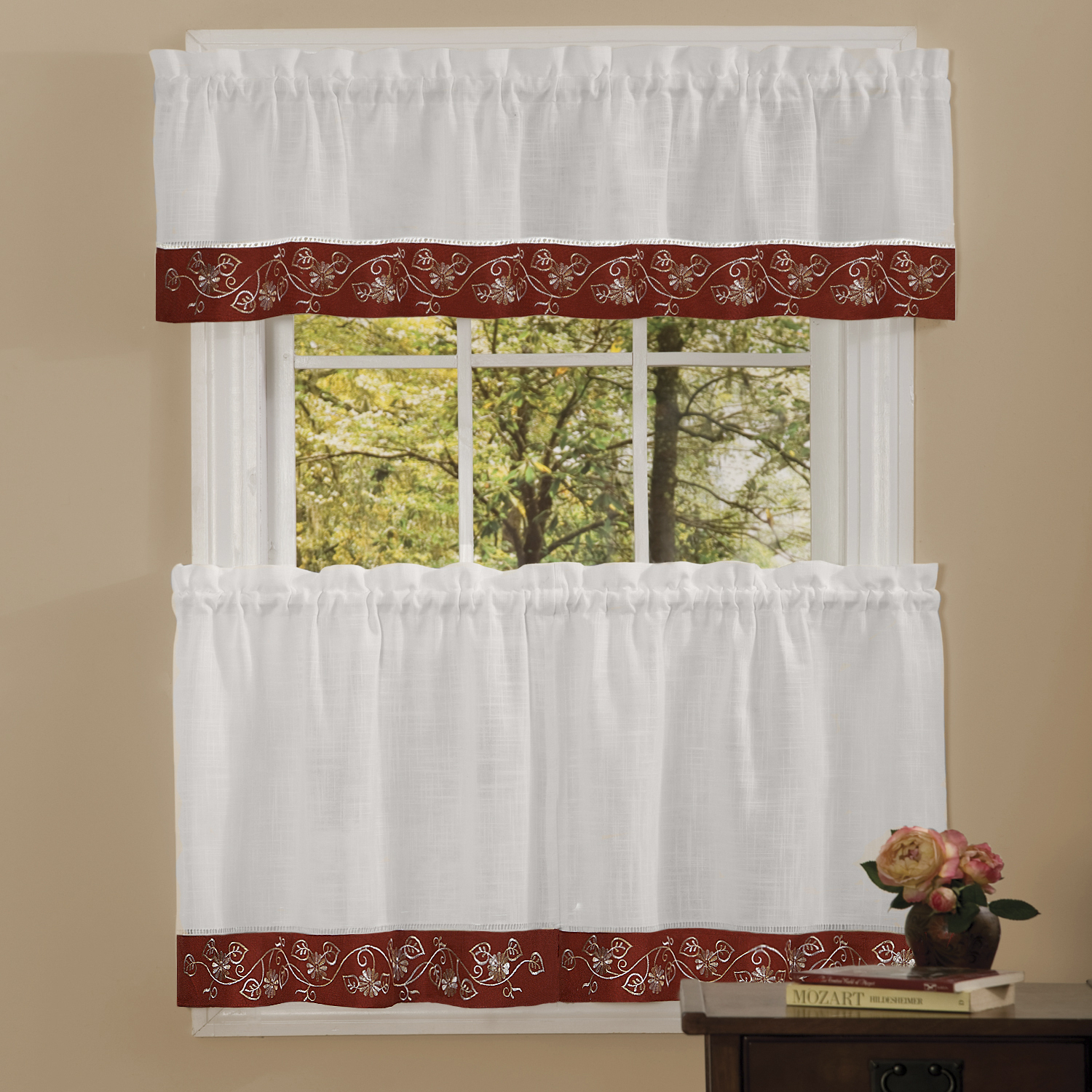 Details About Oakwood Linen Style Kitchen Window Curtains Tiers Or Valance Burgundy In Oakwood Linen Style Decorative Curtain Tier Sets (View 3 of 20)