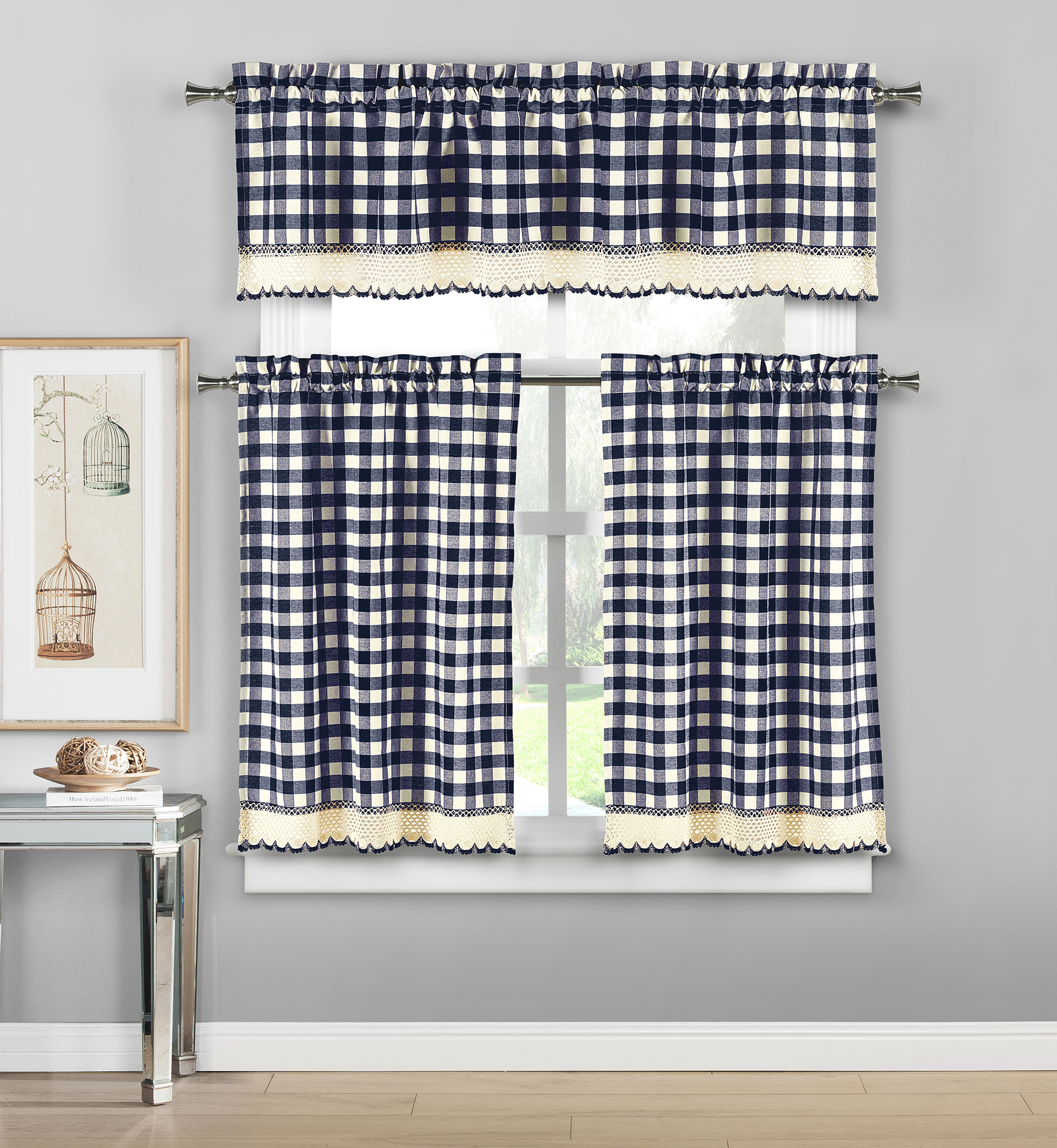 Details About Plaid Checkered Crochet Cotton Blend 3Pc Window Curtain Kitchen Tier & Valance With Cotton Blend Grey Kitchen Curtain Tiers (View 6 of 20)
