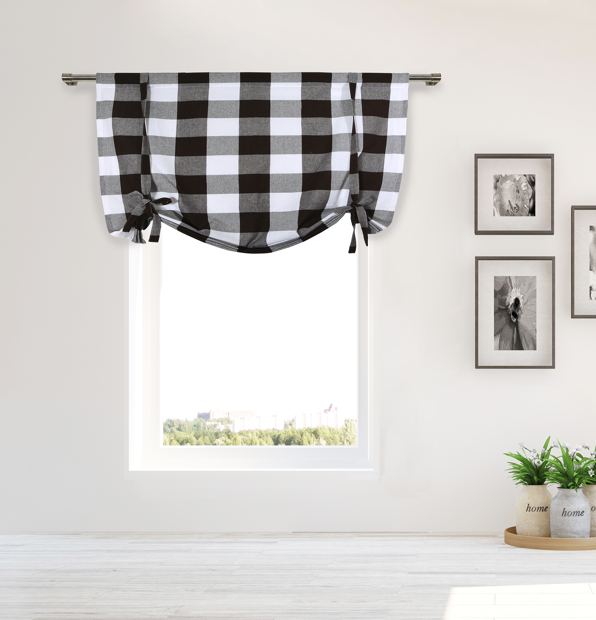 Details About Plaid Gingham Checkered 100% Cotton Blend Kitchen Chocolate Window Curtain Shade Throughout Cotton Blend Classic Checkered Decorative Window Curtains (View 14 of 20)