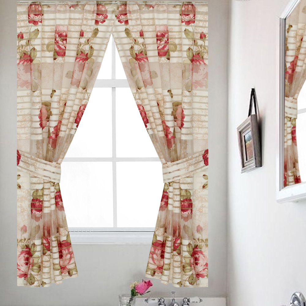 Details About Popular Bath Madeline Beige Collection Bathroom Polyester Window Curtain With Regard To Luxury Collection Kitchen Tiers (View 9 of 20)