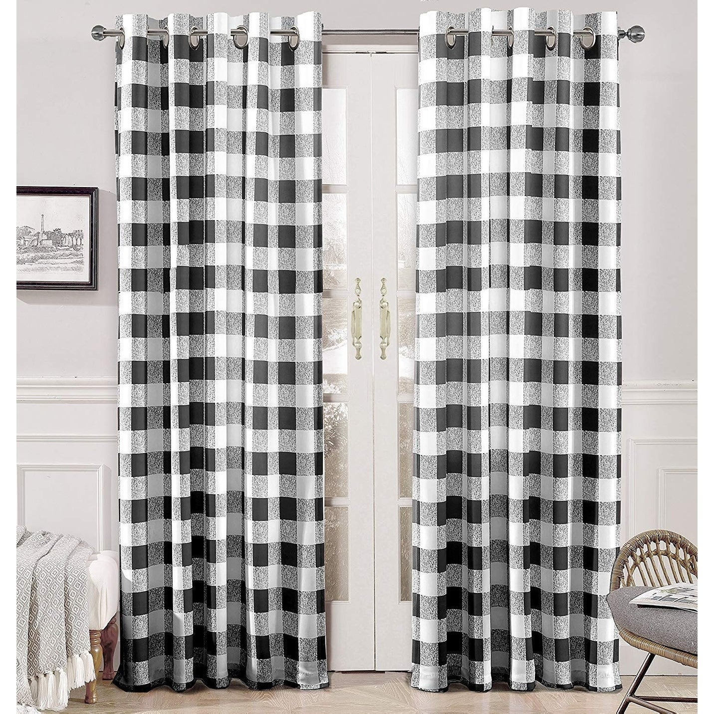 Details About Porch & Den Alfalfa Plaid Pattern Room-Darkening Window within Porch & Den Park Point Blush 24-Inch Tier Pairs (Image 1 of 20)