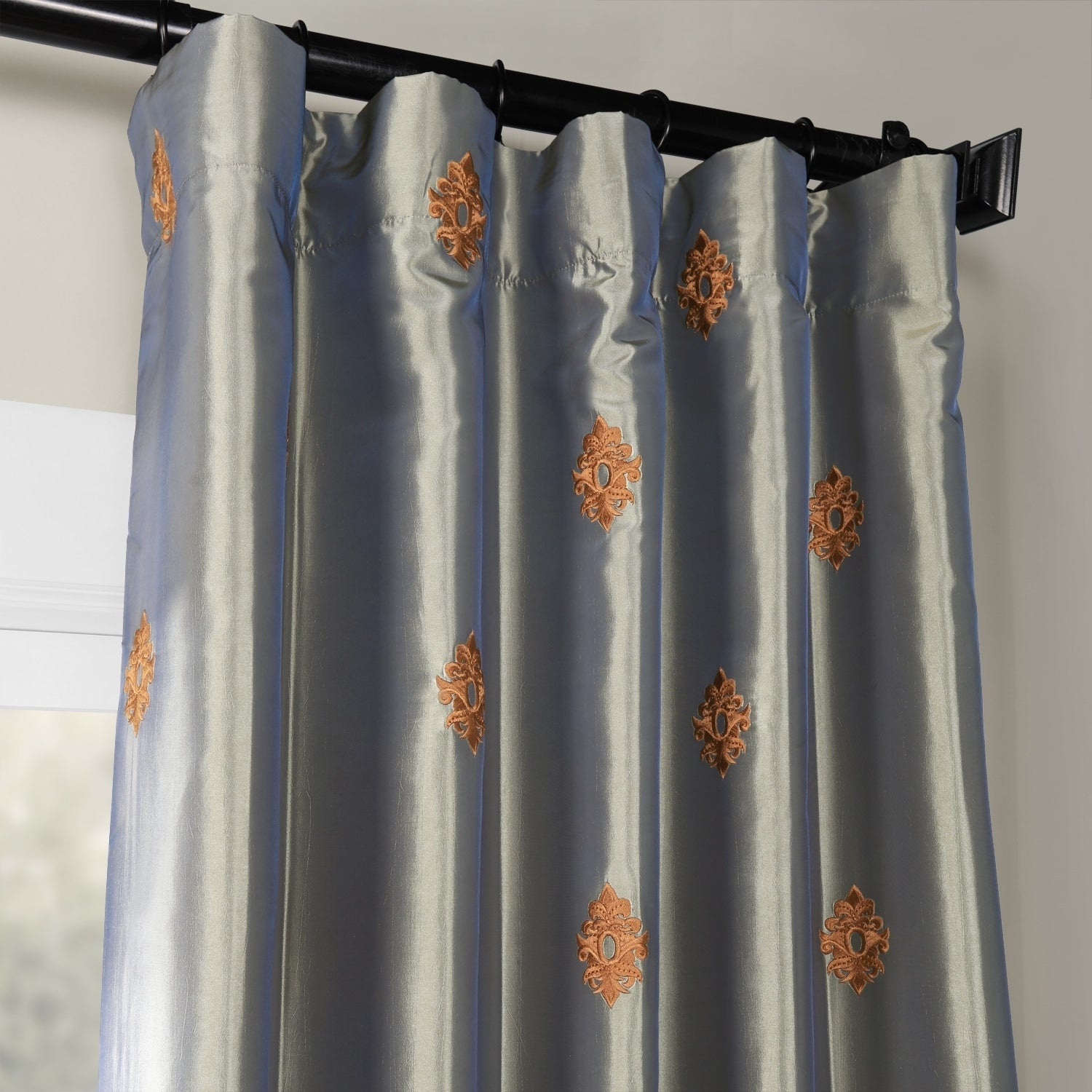 Details About Porch & Den Oberst Embroidered Taffeta Curtain Panel for Porch & Den Lorentz Silver 24-Inch Tier Pairs (Image 5 of 20)