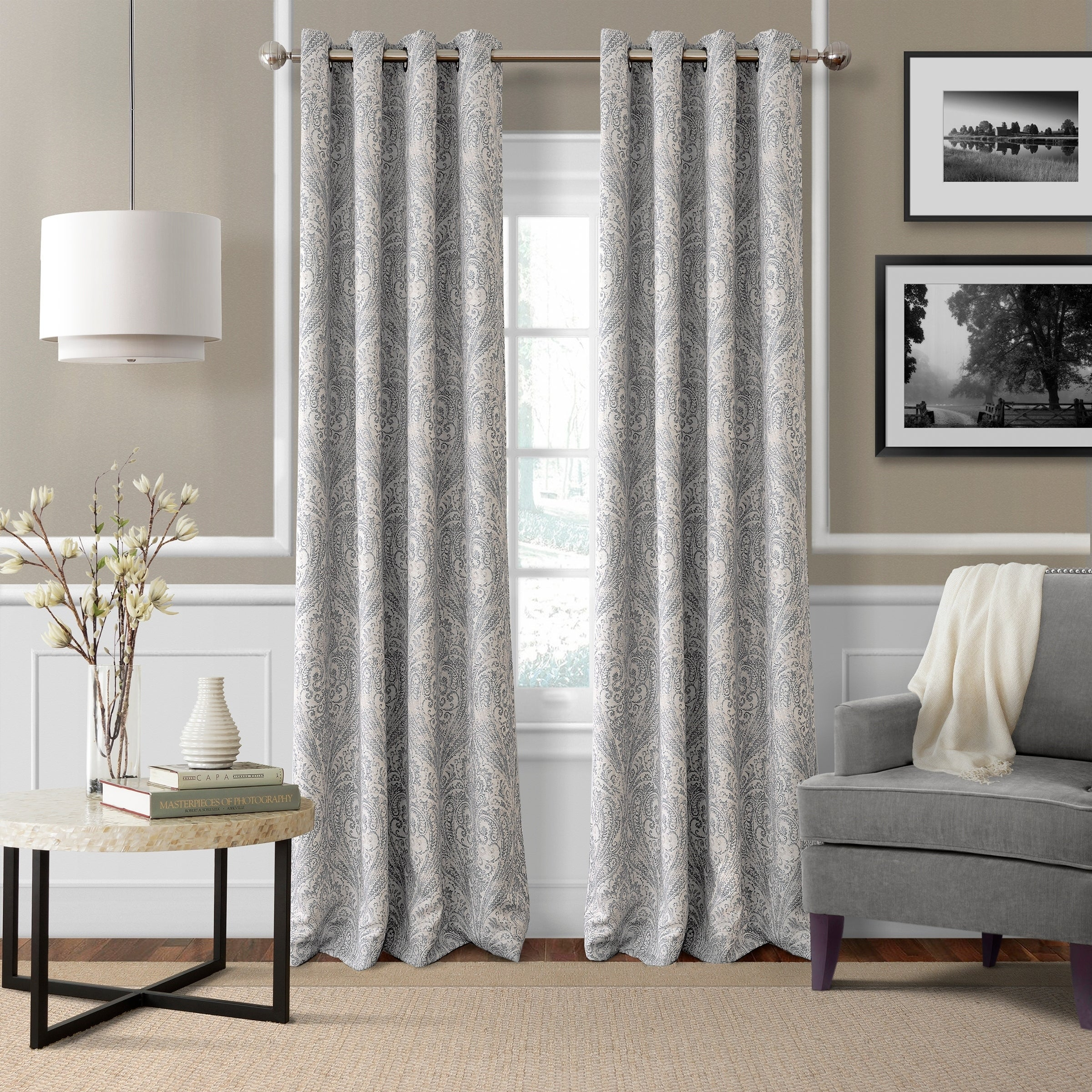 Details About Porch & Den Patrick Room Darkening Grommet Top Curtain Panel regarding Porch & Den Park Point Blush 24-Inch Tier Pairs (Image 11 of 20)