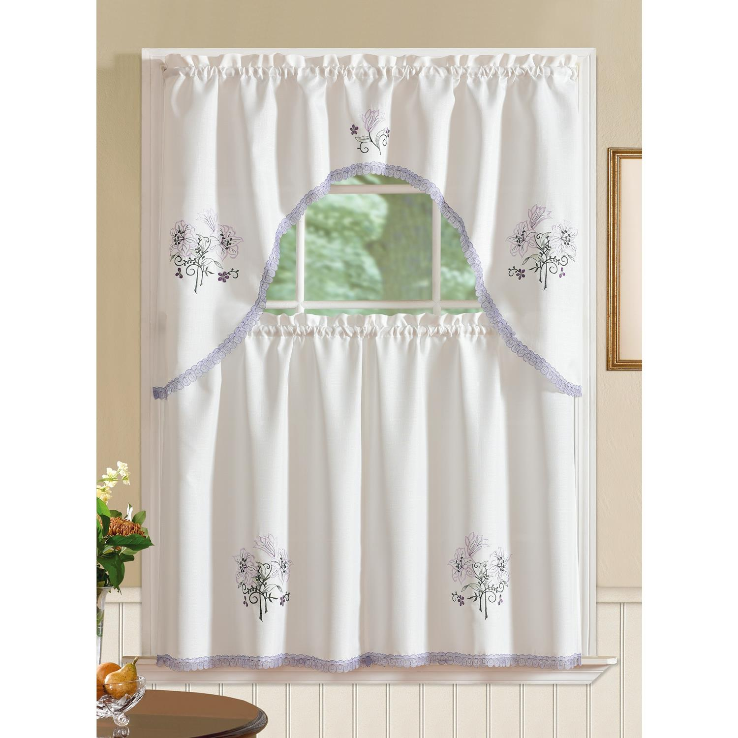 Details About Regal Embroidered Lily Kitchen Curtain Set Within Cotton Blend Ivy Floral Tier Curtain And Swag Sets (View 12 of 20)