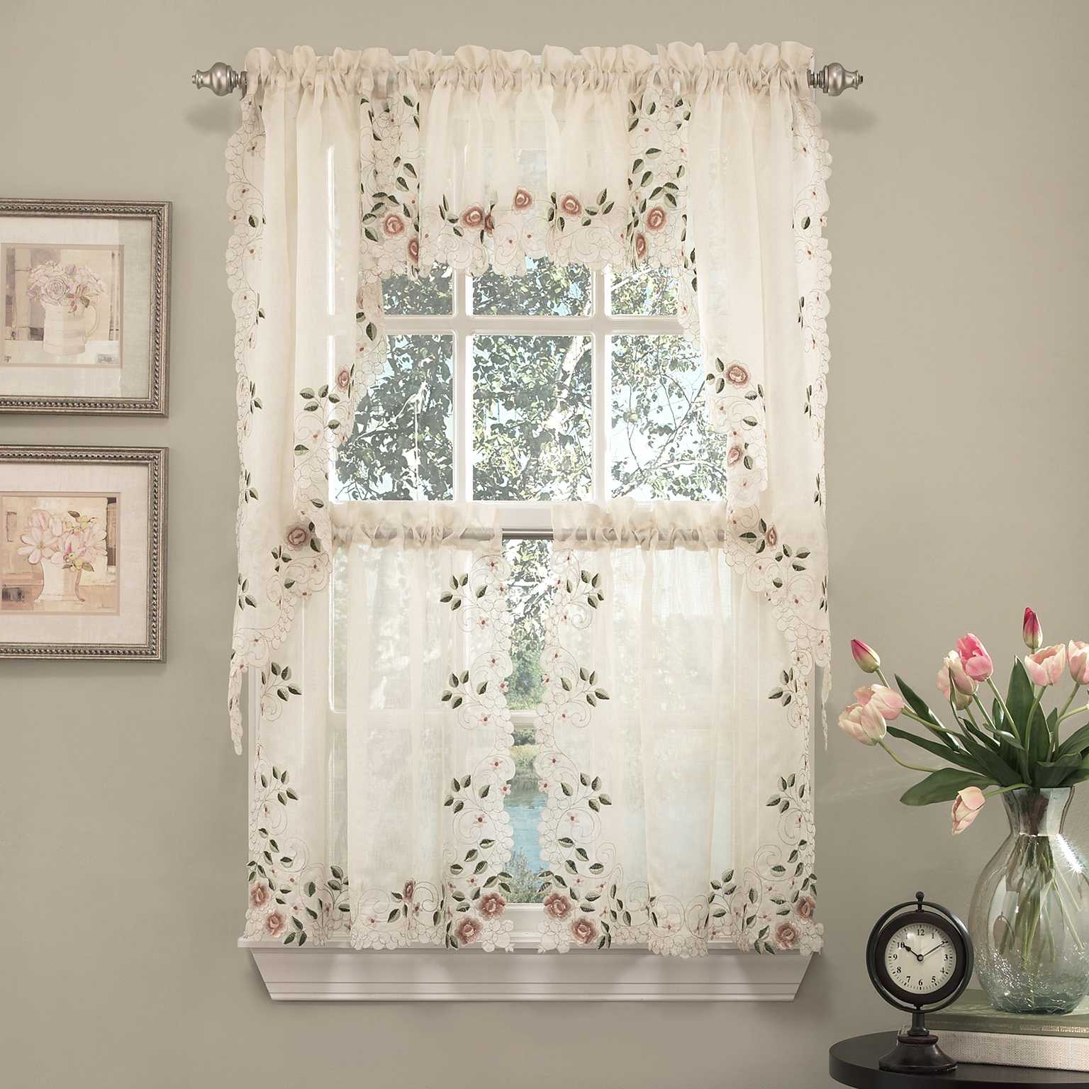 """Details About Rosemary Floral Embroidered Semi Sheer Kitchen Curtain 36"""" Tier Swag Valance Set In Floral Embroidered Faux Silk Kitchen Tiers (View 19 of 20)"""