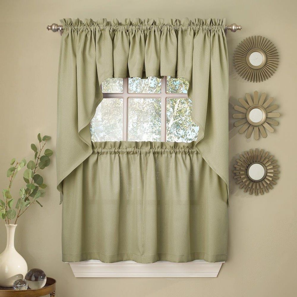 Details About Sage Solid Opaque Ribcord Kitchen Curtains Pertaining To Ivory Micro Striped Semi Sheer Window Curtain Pieces (View 10 of 20)