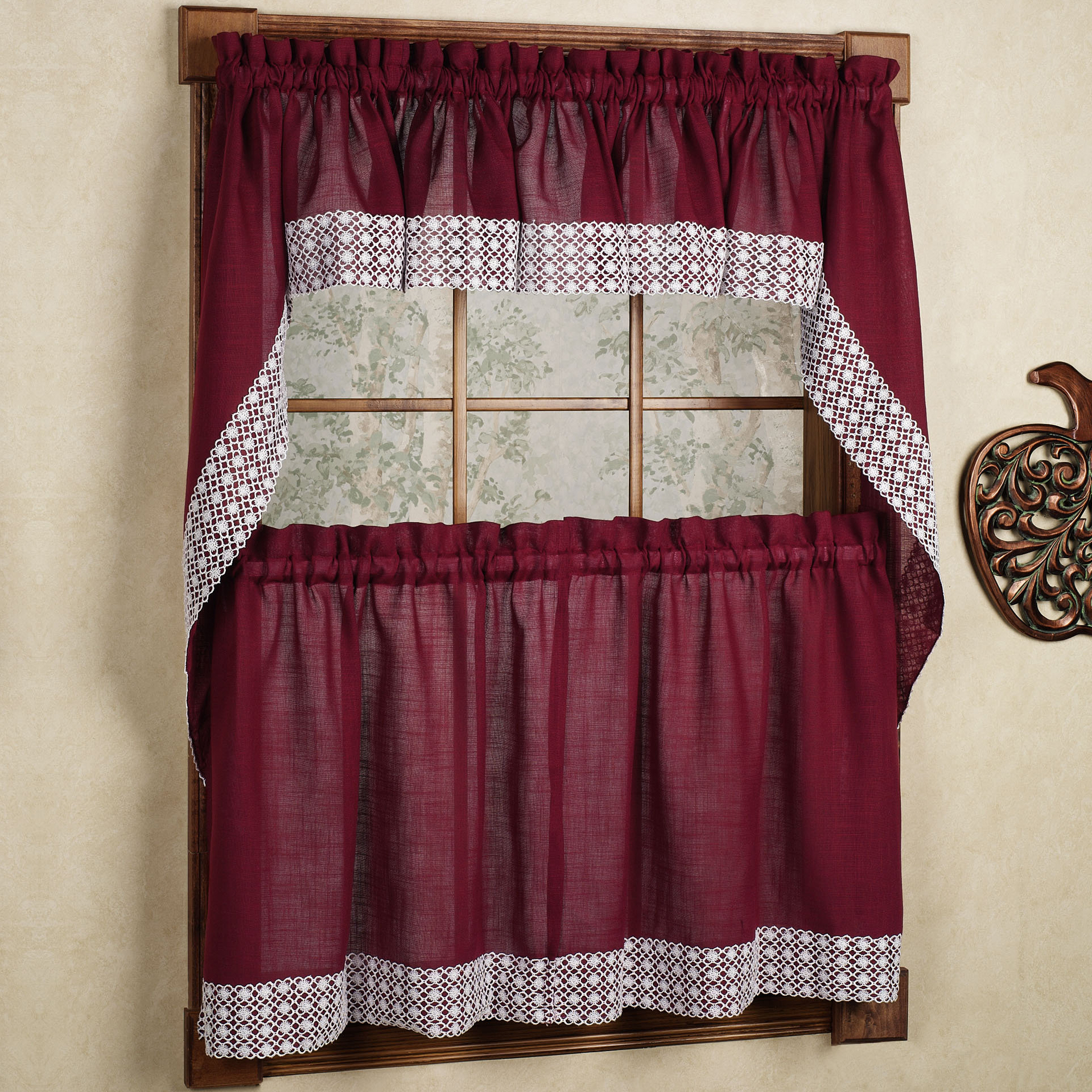 Details About Salem Kitchen Curtain – Burgundy W/white Lace Trim – Lorraine Home Fashions Intended For French Vanilla Country Style Curtain Parts With White Daisy Lace Accent (View 6 of 20)