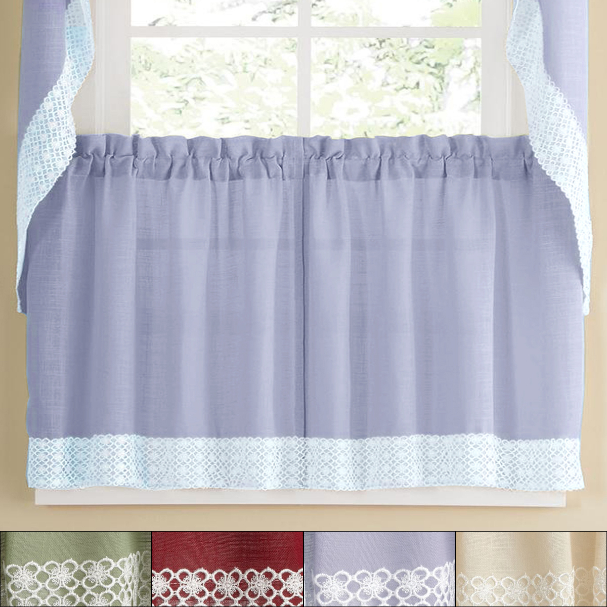 Details About Salem Kitchen Window Curtain W/ Lace Trim – 24 X 60 Tier Pair Pertaining To French Vanilla Country Style Curtain Parts With White Daisy Lace Accent (View 8 of 20)