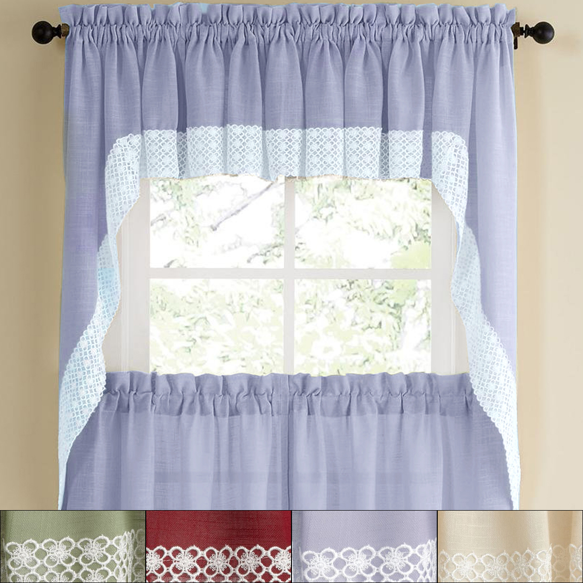 "Details About Salem Kitchen Window Curtain W/ Lace Trim – 38"" Swag Pair Intended For Cotton Lace 5 Piece Window Tier And Swag Sets (View 5 of 20)"