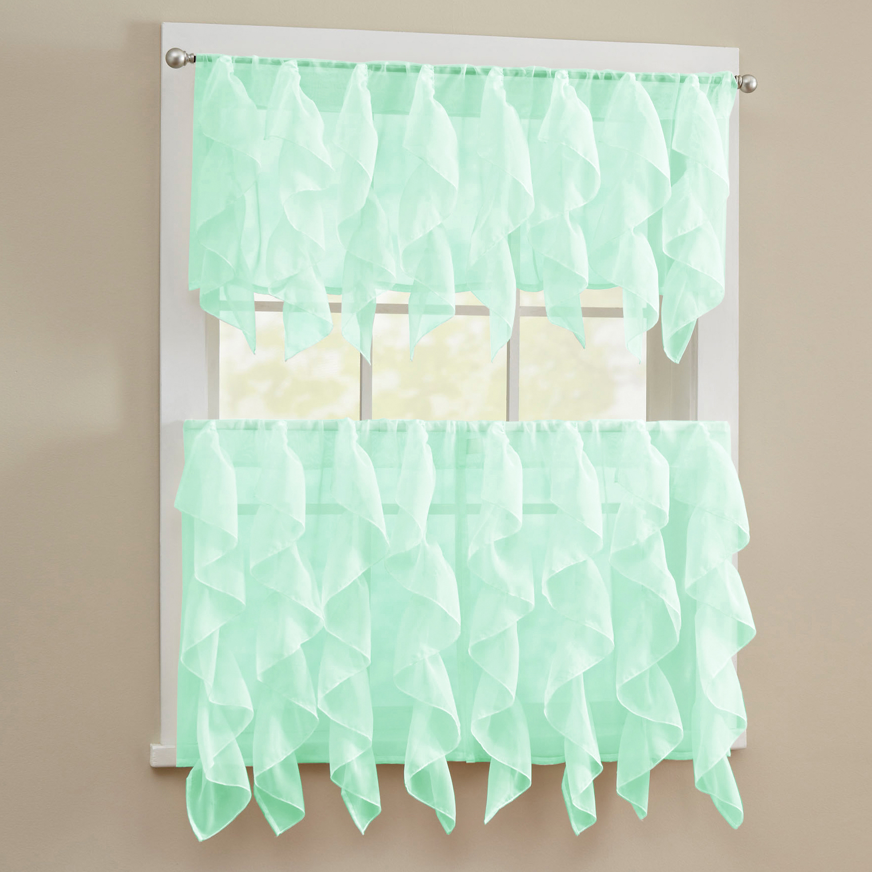 Details About Sheer Voile Vertical Ruffle Window Kitchen Curtain Tiers Or  Valance Mint with regard to Maize Vertical Ruffled Waterfall Valance and Curtain Tiers (Image 5 of 20)