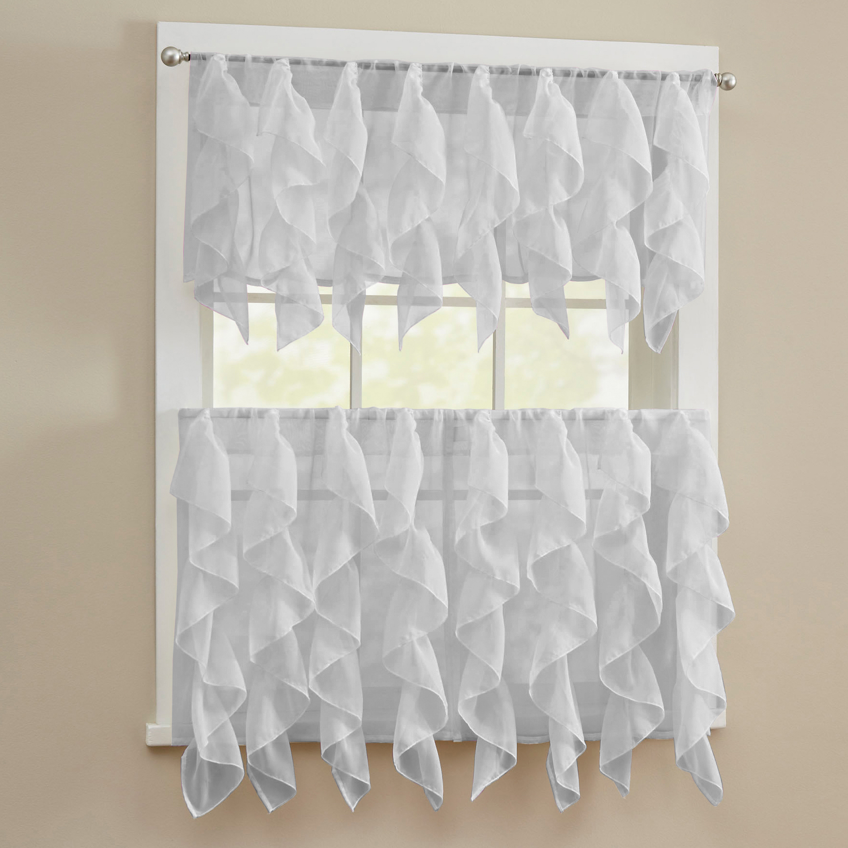 Details About Sheer Voile Vertical Ruffle Window Kitchen Curtain Tiers Or Valance Silver Throughout Silver Vertical Ruffled Waterfall Valance And Curtain Tiers (View 6 of 20)