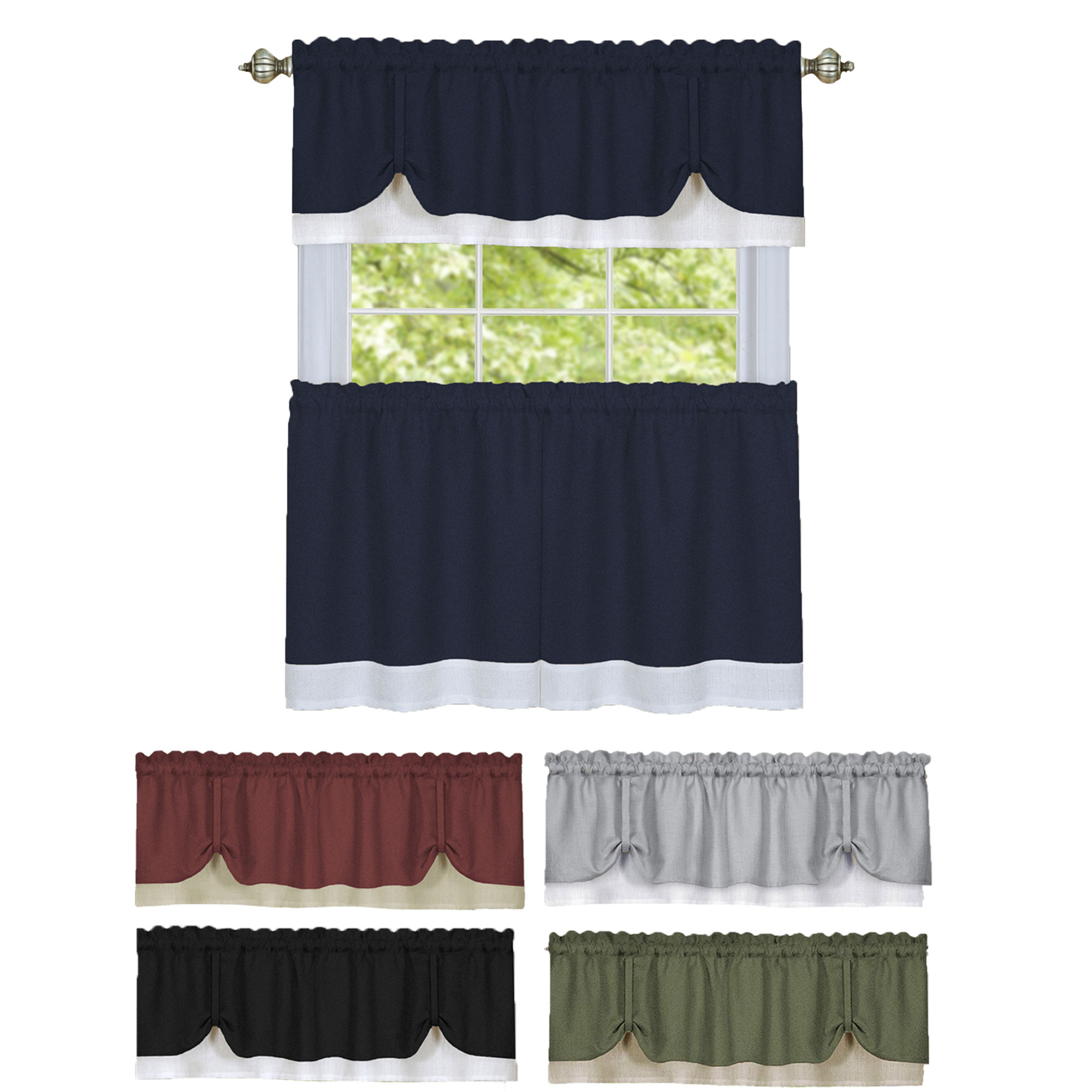 Details About Solid Window Curtain Double Layer Tier Pair & Valance Set In Window Curtain Tier And Valance Sets (View 3 of 20)