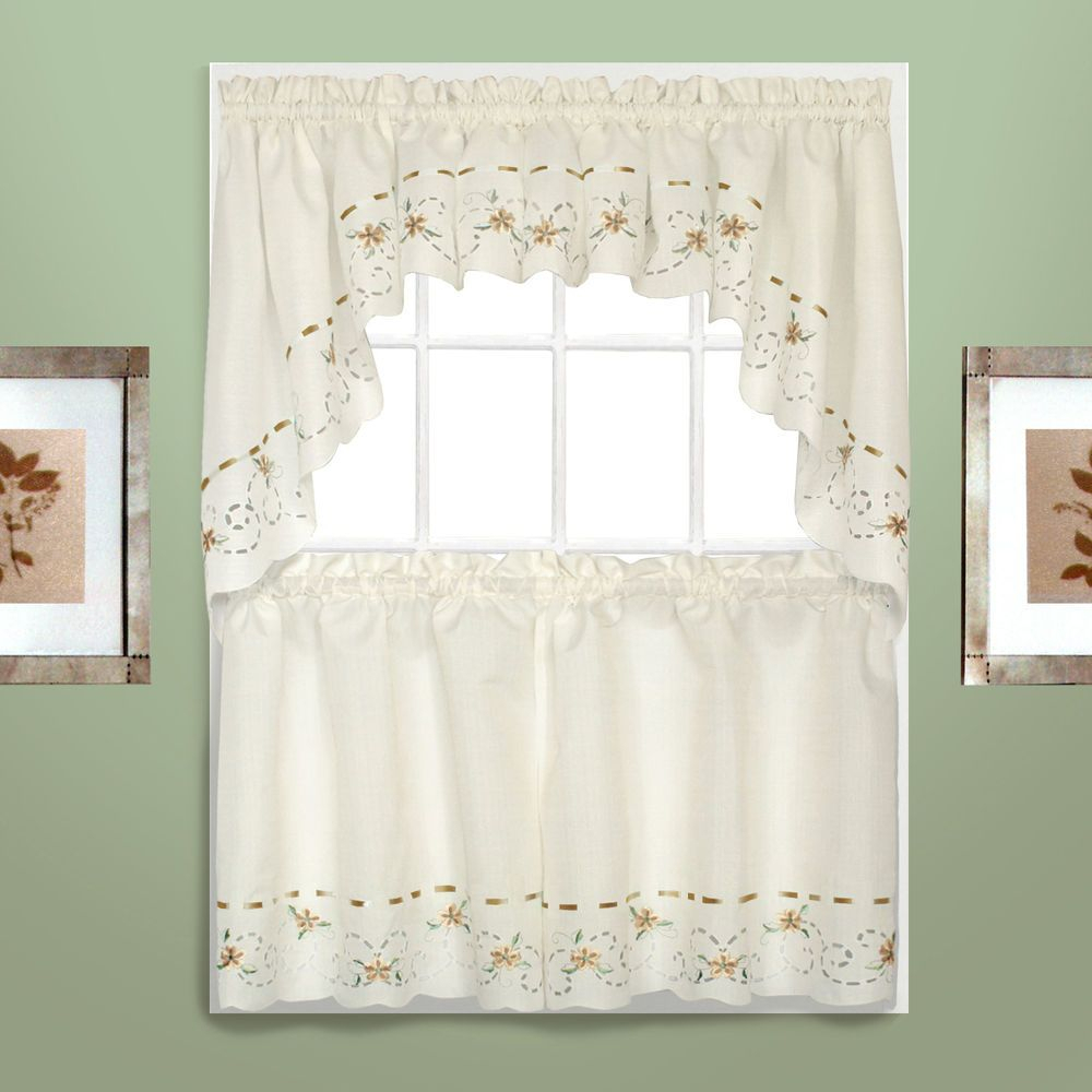 Details About Strawberries Embroidered Kitchen Curtain In Abby Embroidered 5 Piece Curtain Tier And Swag Sets (Image 10 of 20)