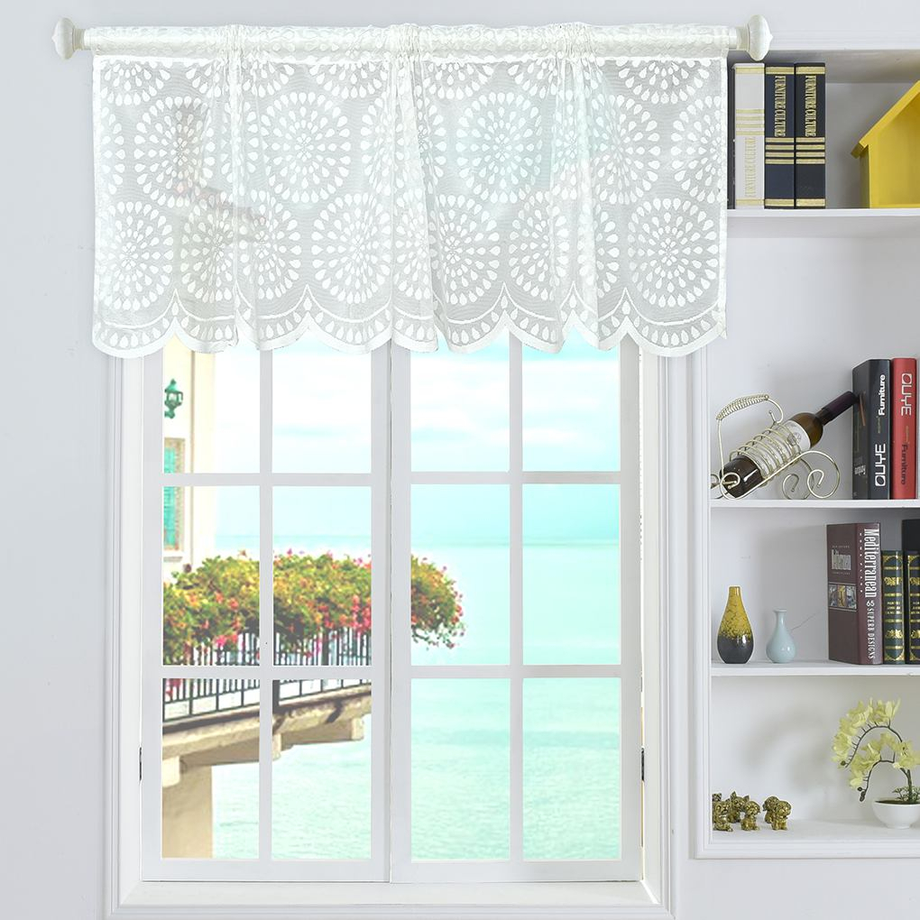 Details About Striped Short Valance Rod Pocket Curtains Kitchen Window Treatments Decor Within Linen Stripe Rod Pocket Sheer Kitchen Tier Sets (View 12 of 20)