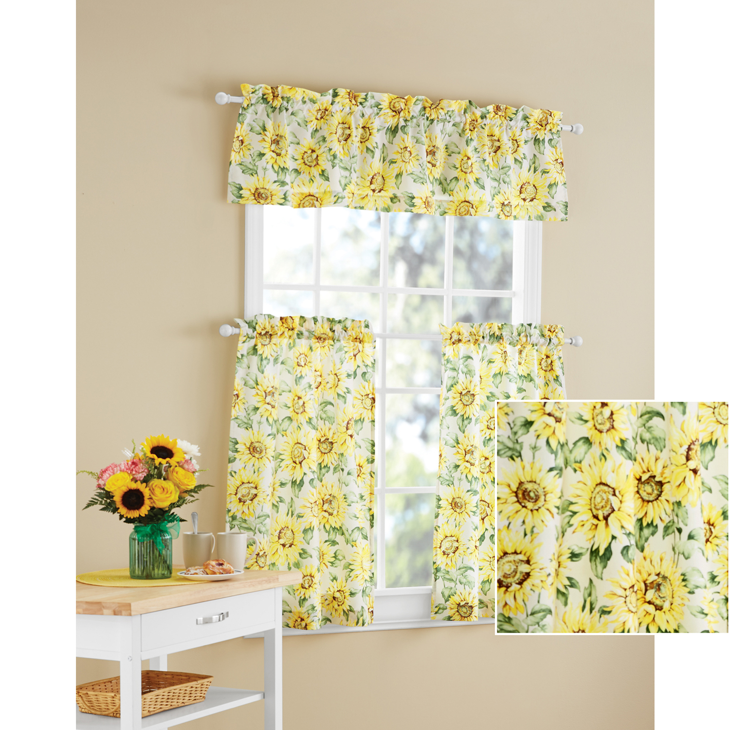 Details About Sunflower 3 Piece Kitchen Curtain Tier And Valance Set Home Decor Room Window In Grey Window Curtain Tier And Valance Sets (View 5 of 20)