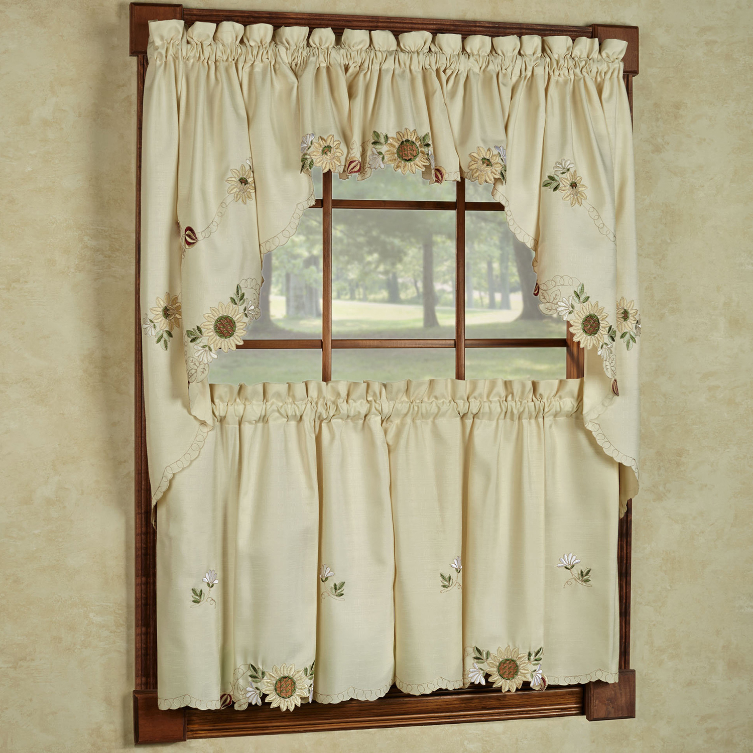 """Details About Sunflower Cream Embroidered Kitchen Curtains 24"""" Tier, Swag & Valance Set For Embroidered Ladybugs Window Curtain Pieces (View 11 of 20)"""