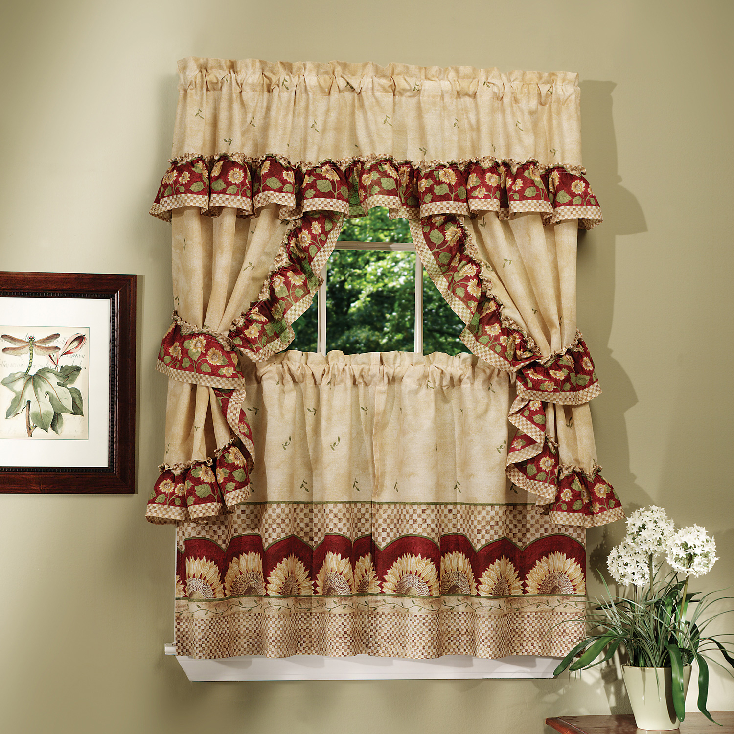 "Details About Sunflower Kitchen Curtain 36"" Tier Pair Valence Swag & Tieback Cottage Set Intended For Cottage Ivy Curtain Tiers (View 8 of 20)"