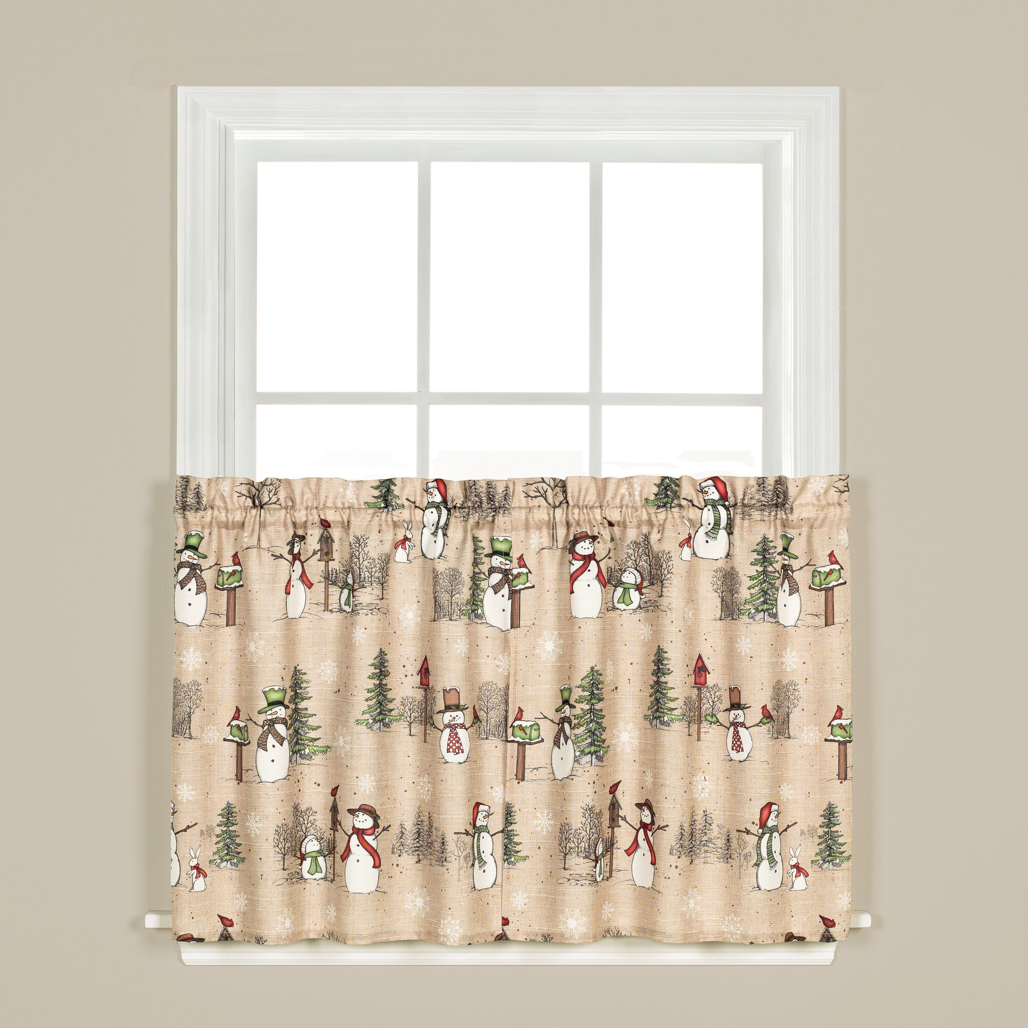 Details About The Holiday Aisle Brenna Snowman Tier Pair Cafe Curtain in Dexter 24 Inch Tier Pairs in Green (Image 7 of 20)