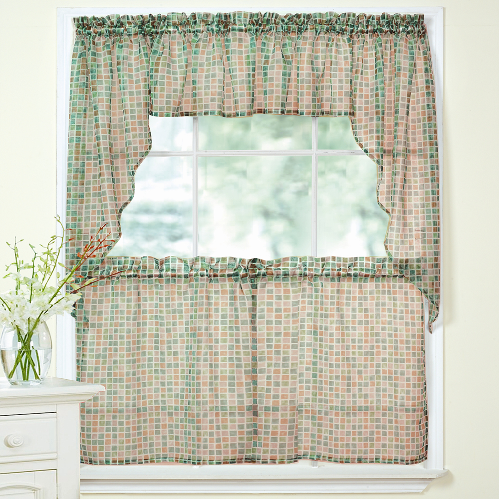 Details About Tiles Block Print Beige/black Sheer Voile Kitchen Curtains Tier, Valance Or Swag Throughout Classic Black And White Curtain Tiers (View 12 of 20)